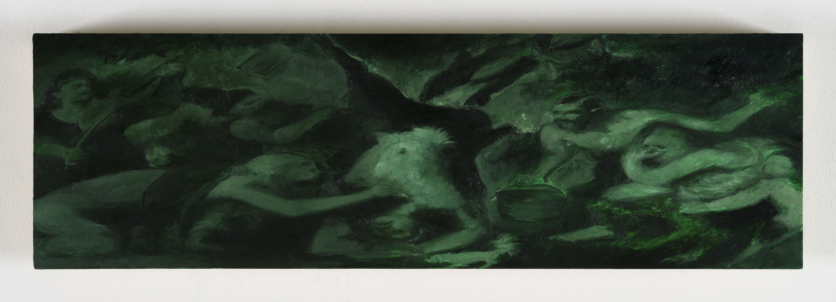 Brook Hsu 'Study of Titian ́s Flaying of Marsyas', 2021, oil on wood, 14 x 46.3 x 2 cm. Photo: Stephen Faught, Courtesy the artist; Kraupa - Tuskany Zeidler, Berlin