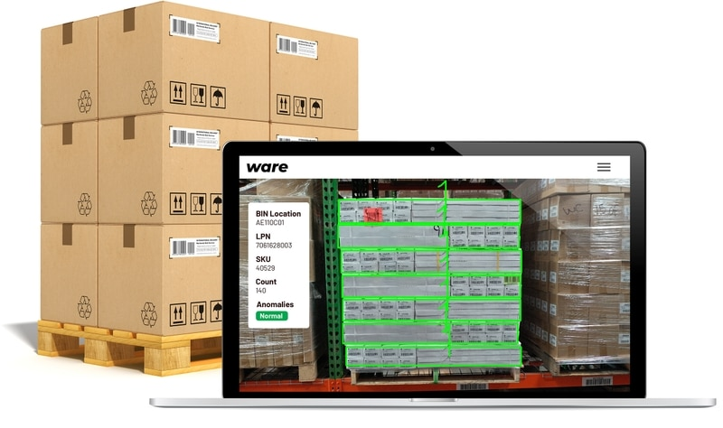 Image of a pallet and the Ware software on a screen
