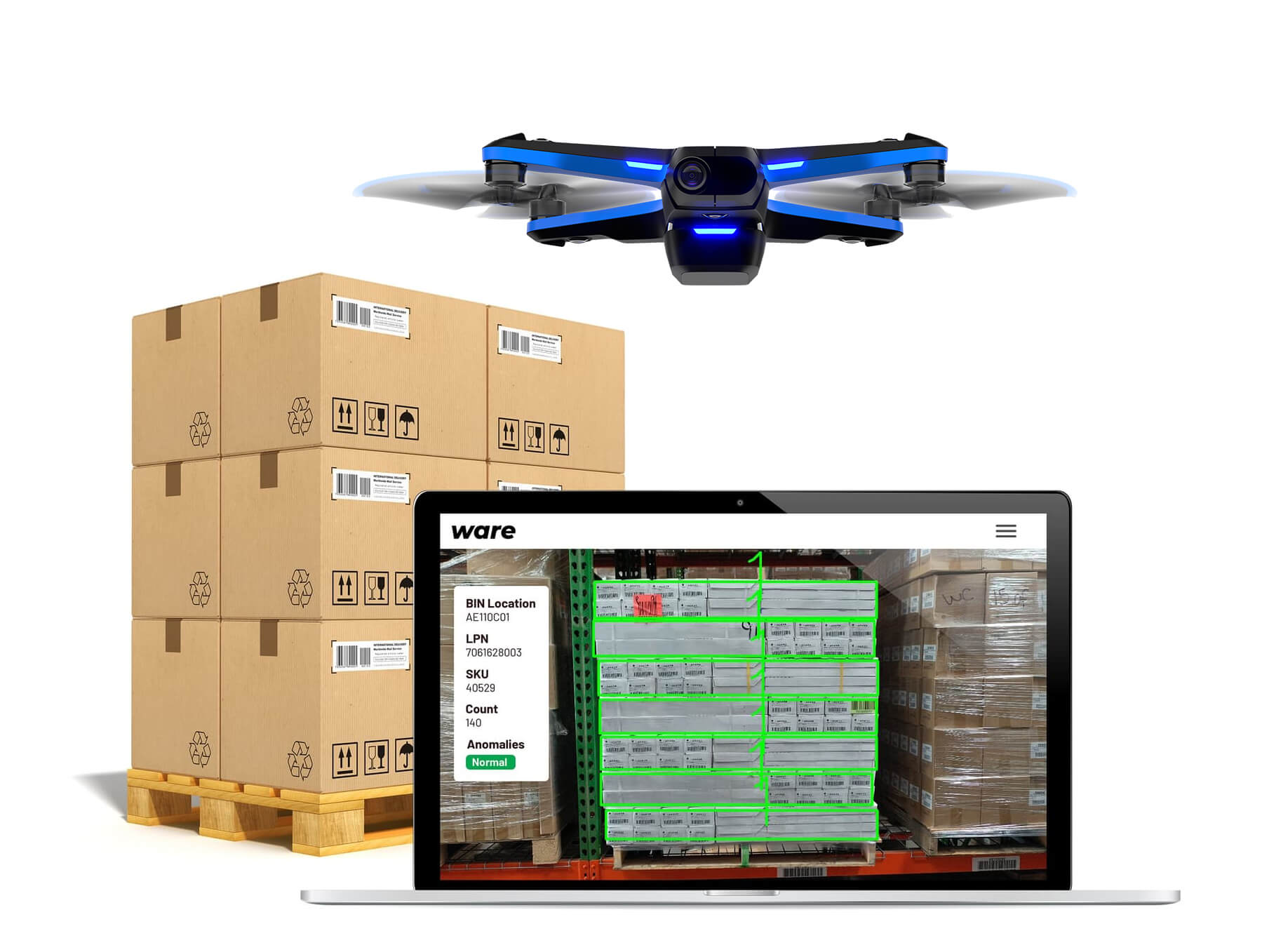 Ware drone flying among a pallet and Ware software for case counting