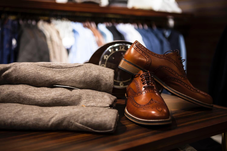 Brogue Oxford shoes Displayed On A Shelf