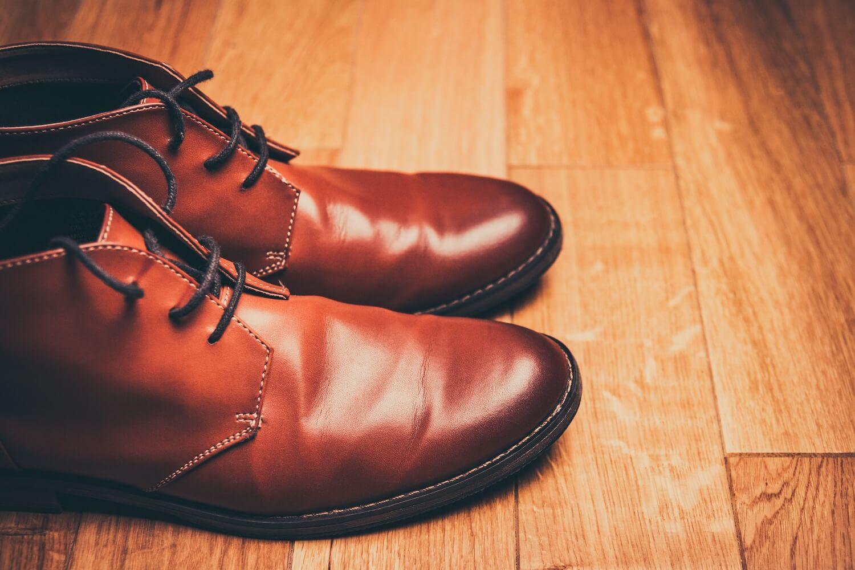 Semi-casual Brown Chukka Boots on Hardwood Floor
