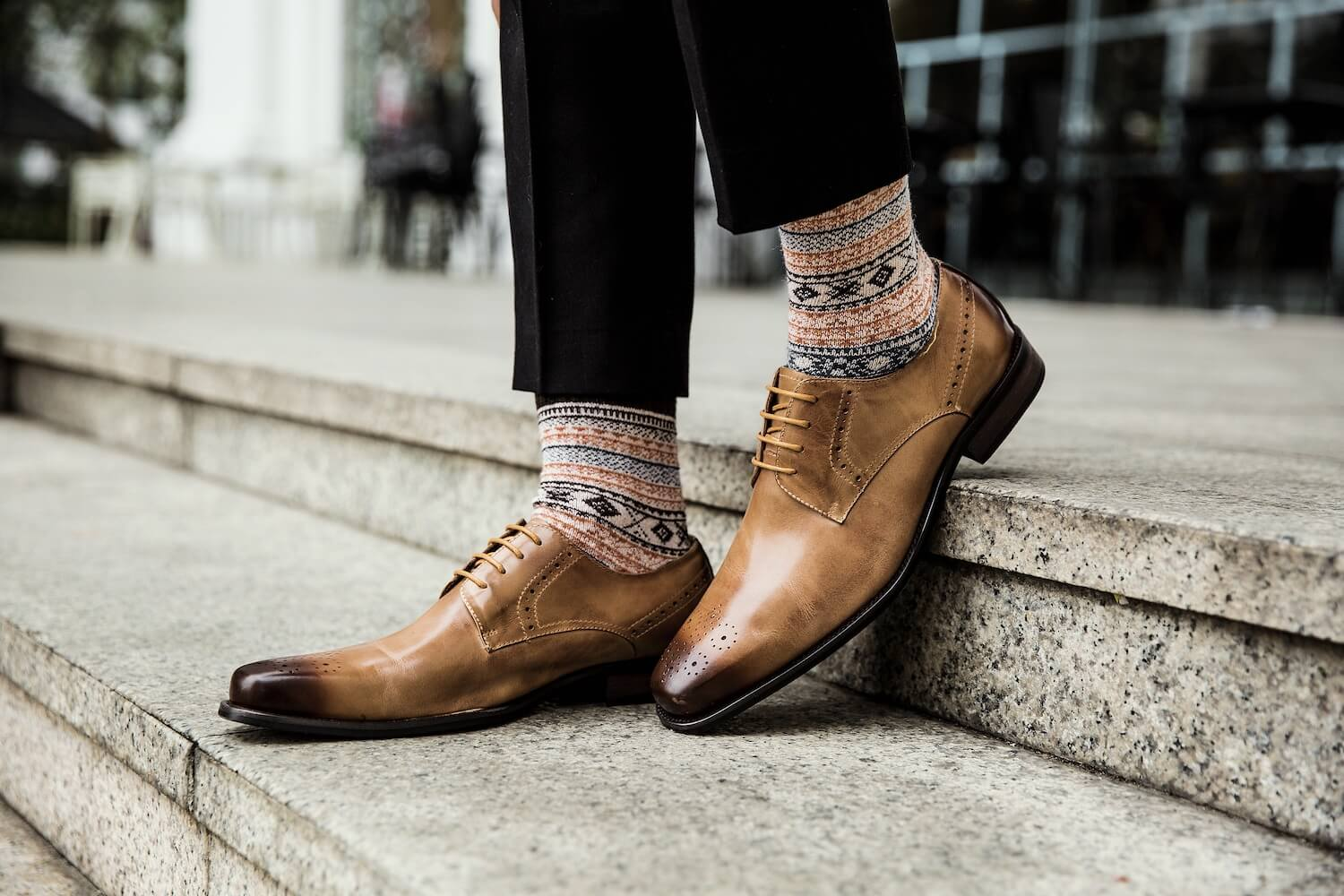 Long Skinny-toed Brown Shoe with a Little Brogue Detailing on Point of Toe