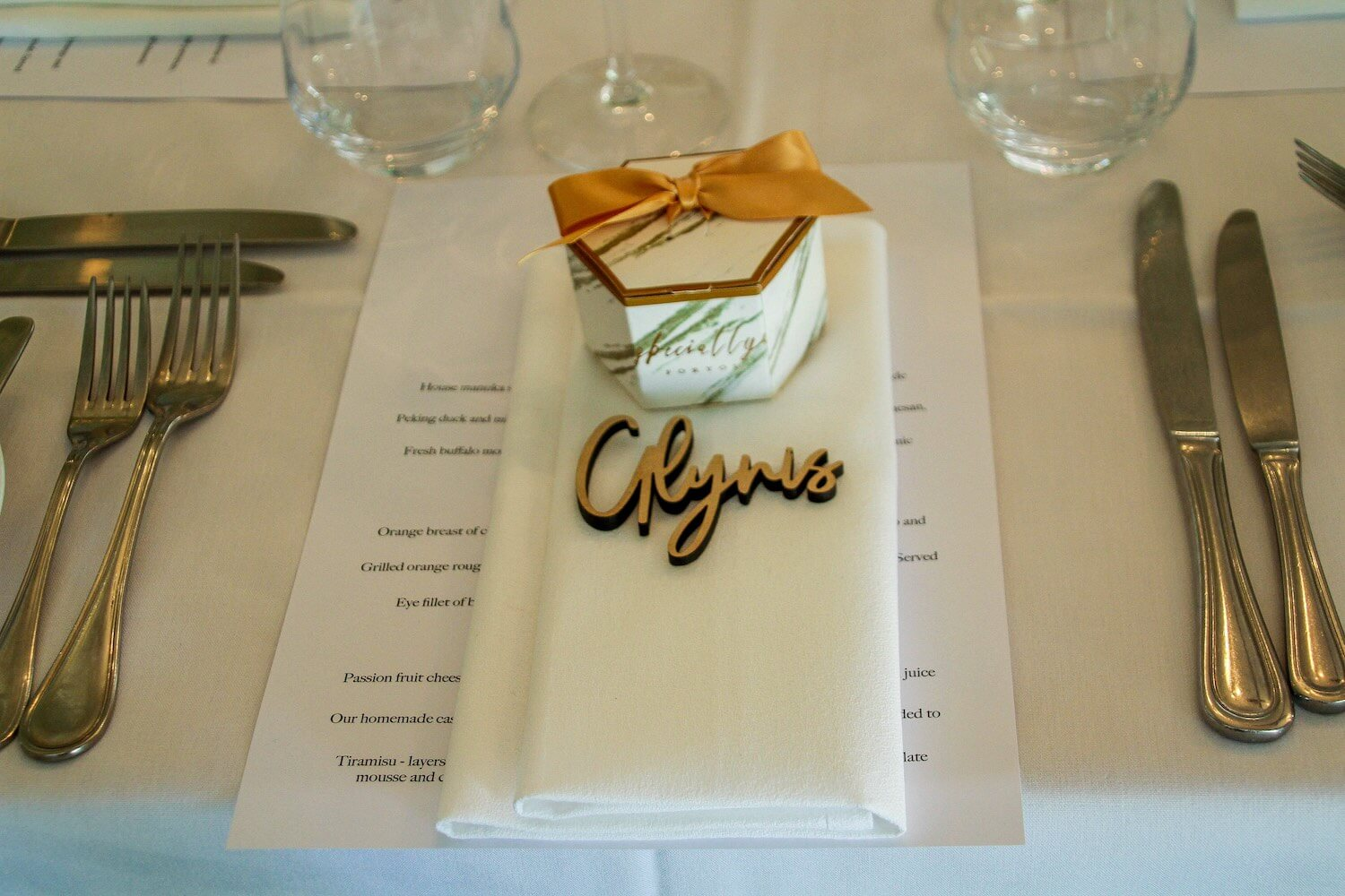 Table Setting With Laser Cut Wooden Name Markers and Wedding Favours