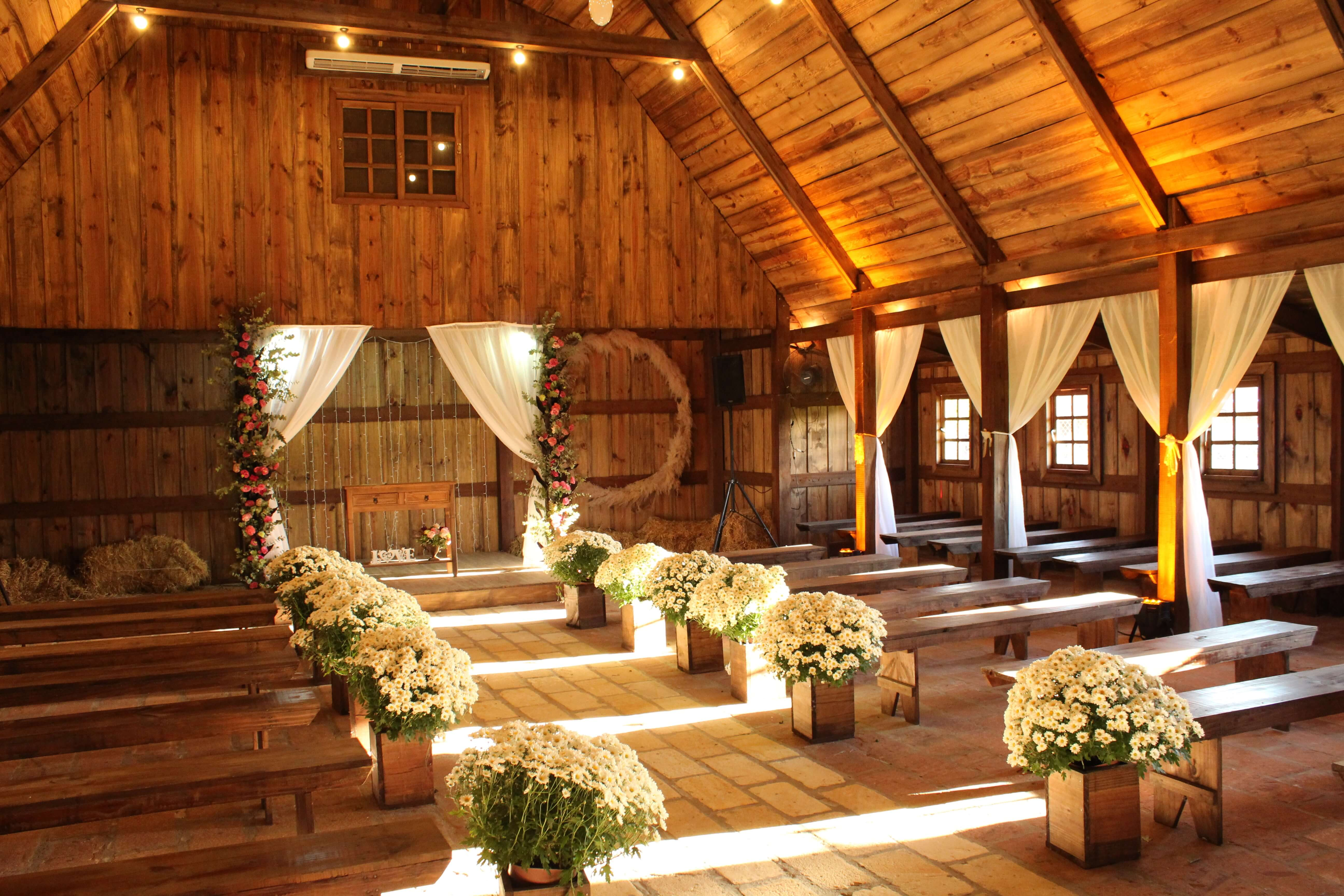 Barn set up for a wedding ceremony
