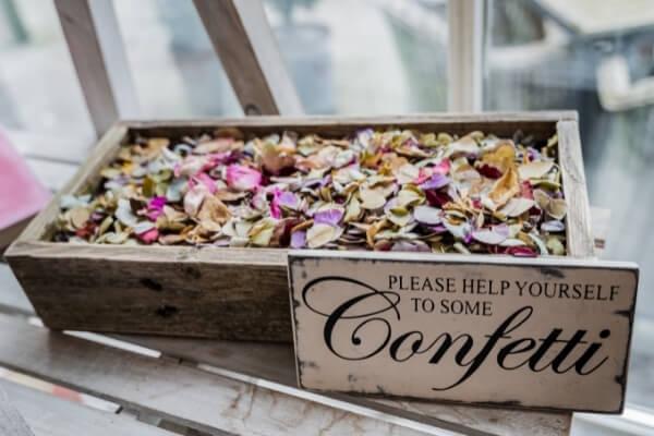 Crate of petal confetti