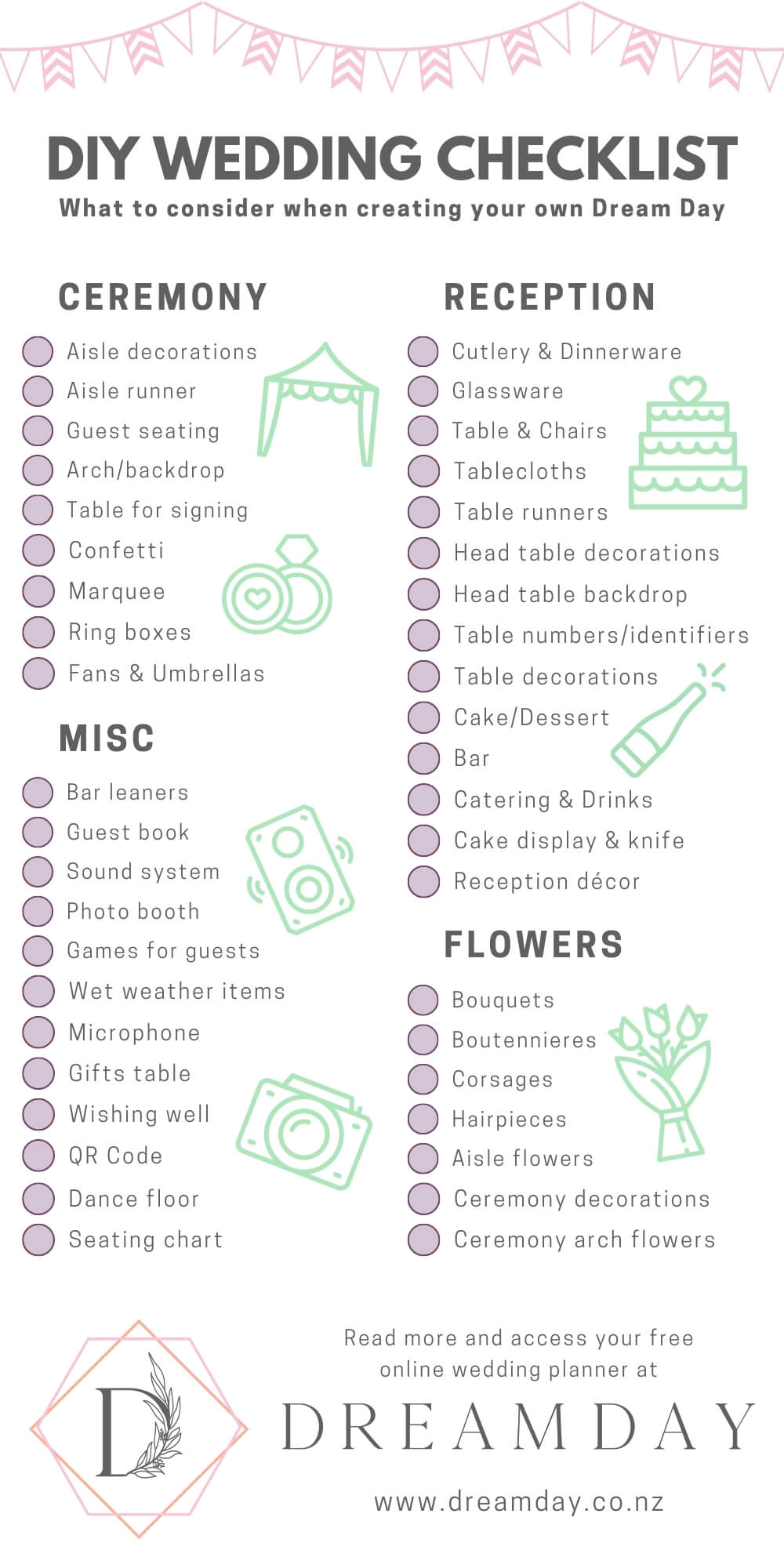 Checklist of DIY wedding items