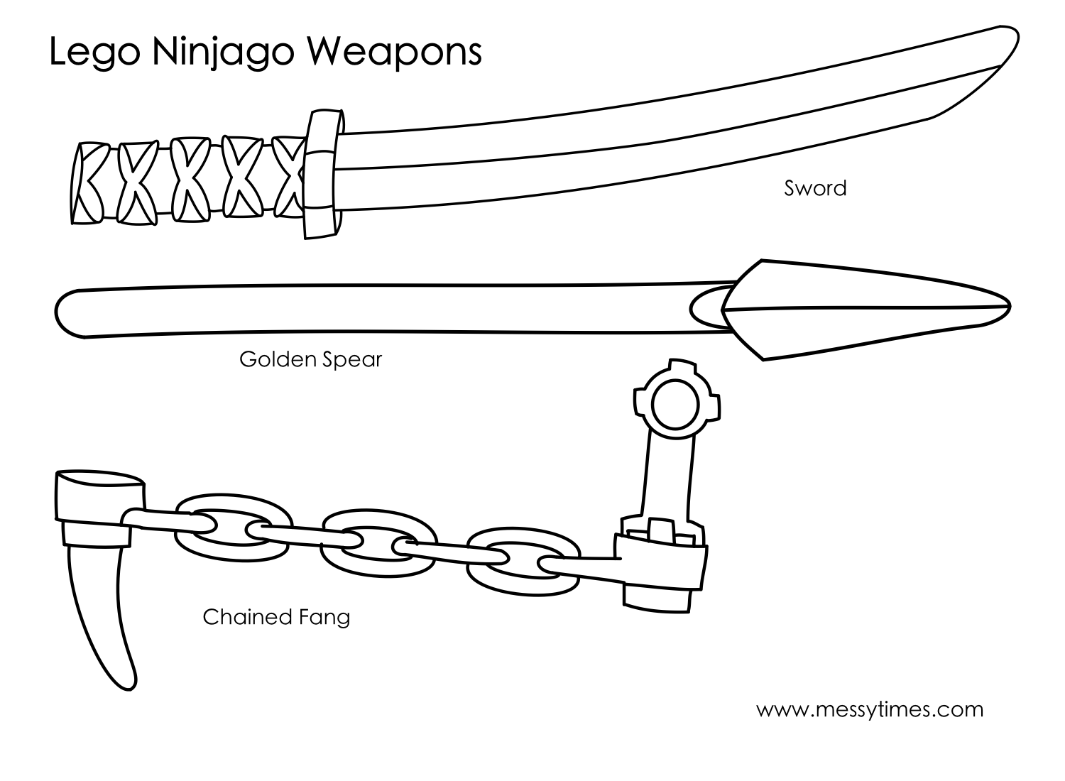 Lego Ninjago Weapon - Sword of Fire, Golden Spear and Chained Fang