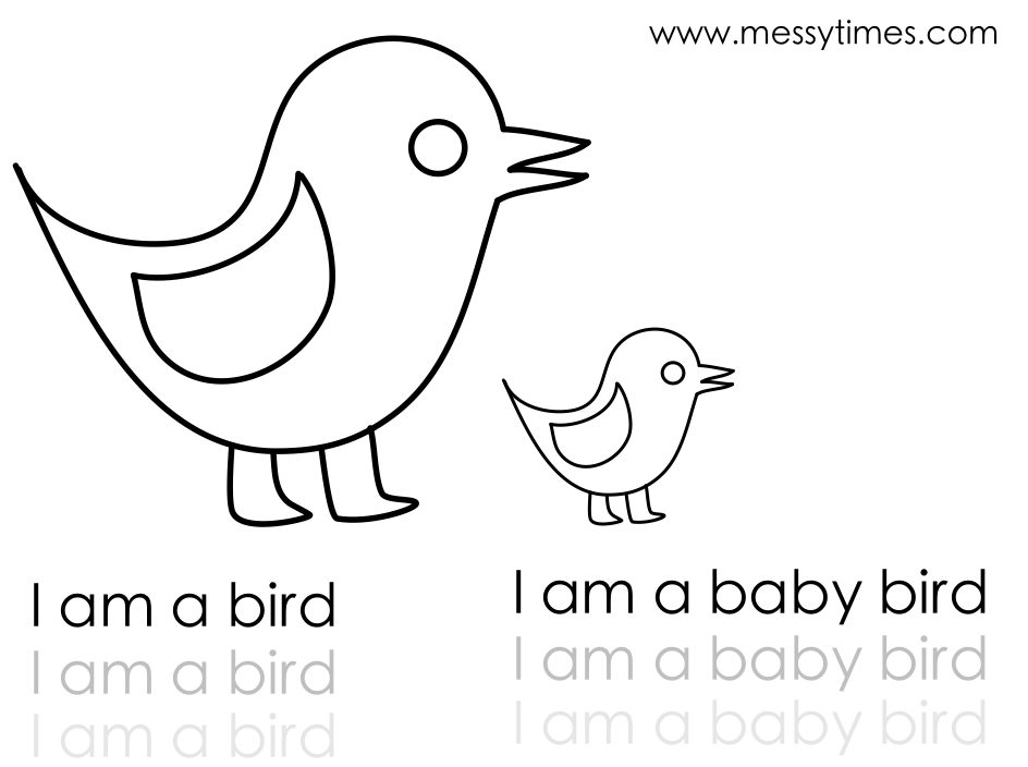 I am a bird coloring in printable and writing activity