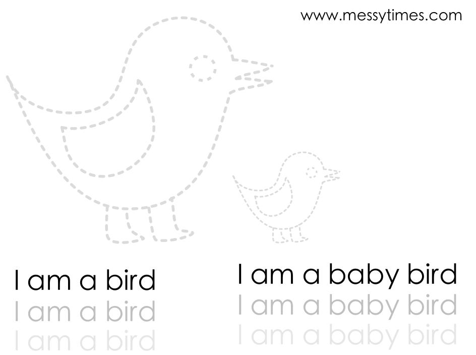 I am a bird tracing and writing printable