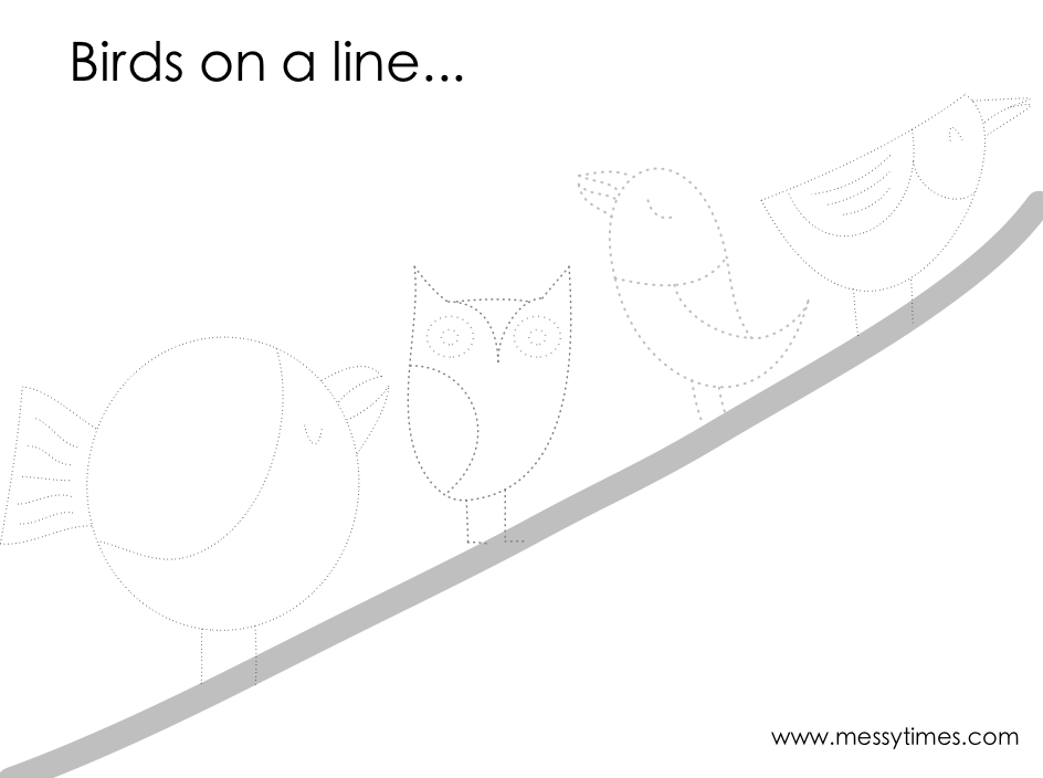 Trace the birds on a tree printable
