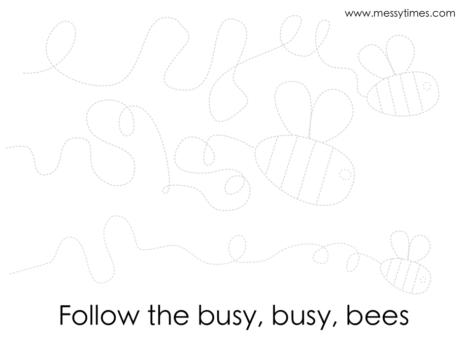 Busy bees follow the, dotted traceable printable