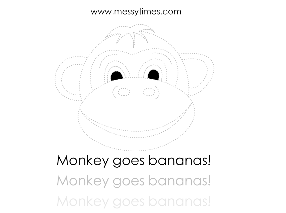 Monkey goes bananas printable dotted version