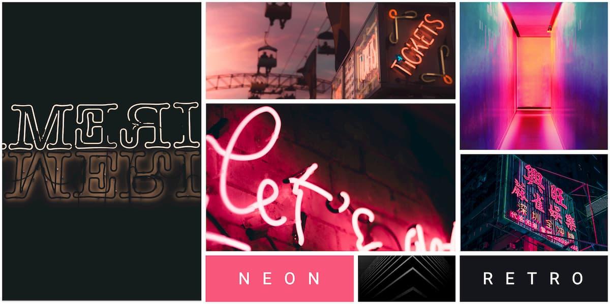 Neon Retro Mood Board
