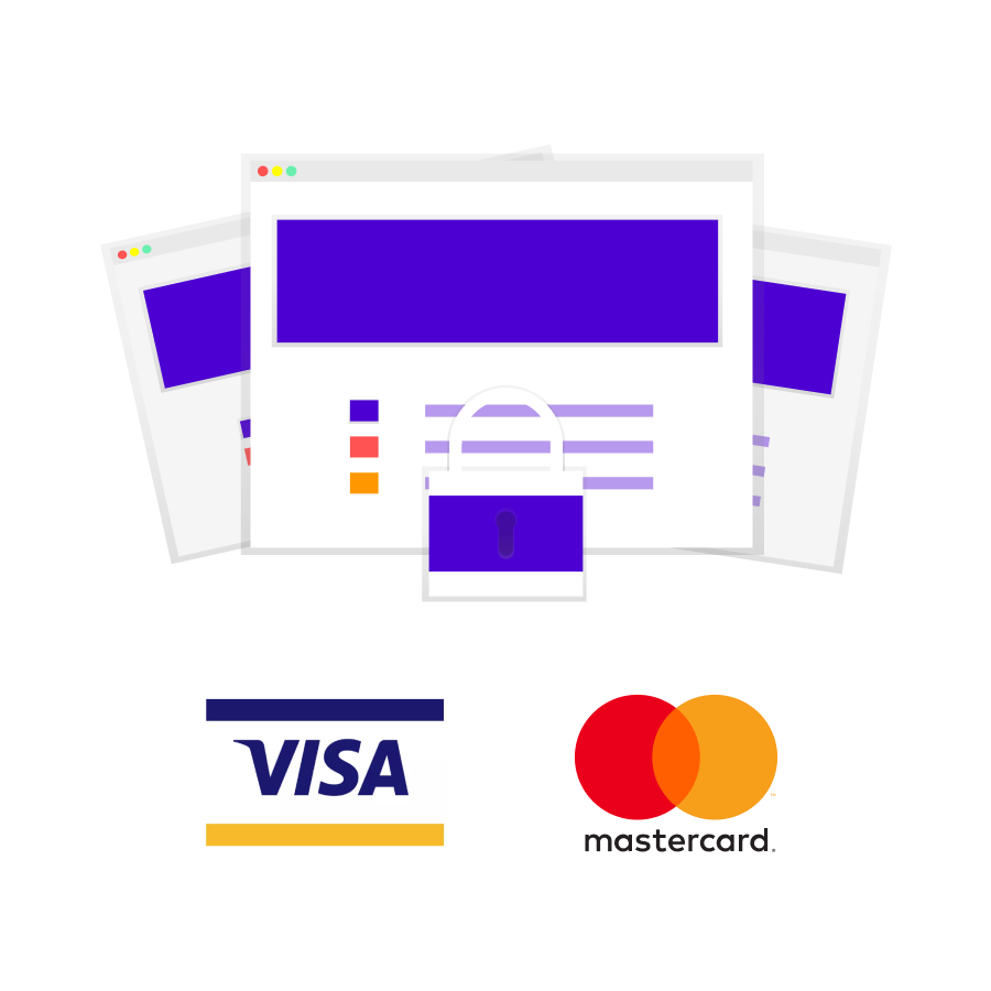 Security illustration showing the cards supported for payment processing - VISA and Mastercard