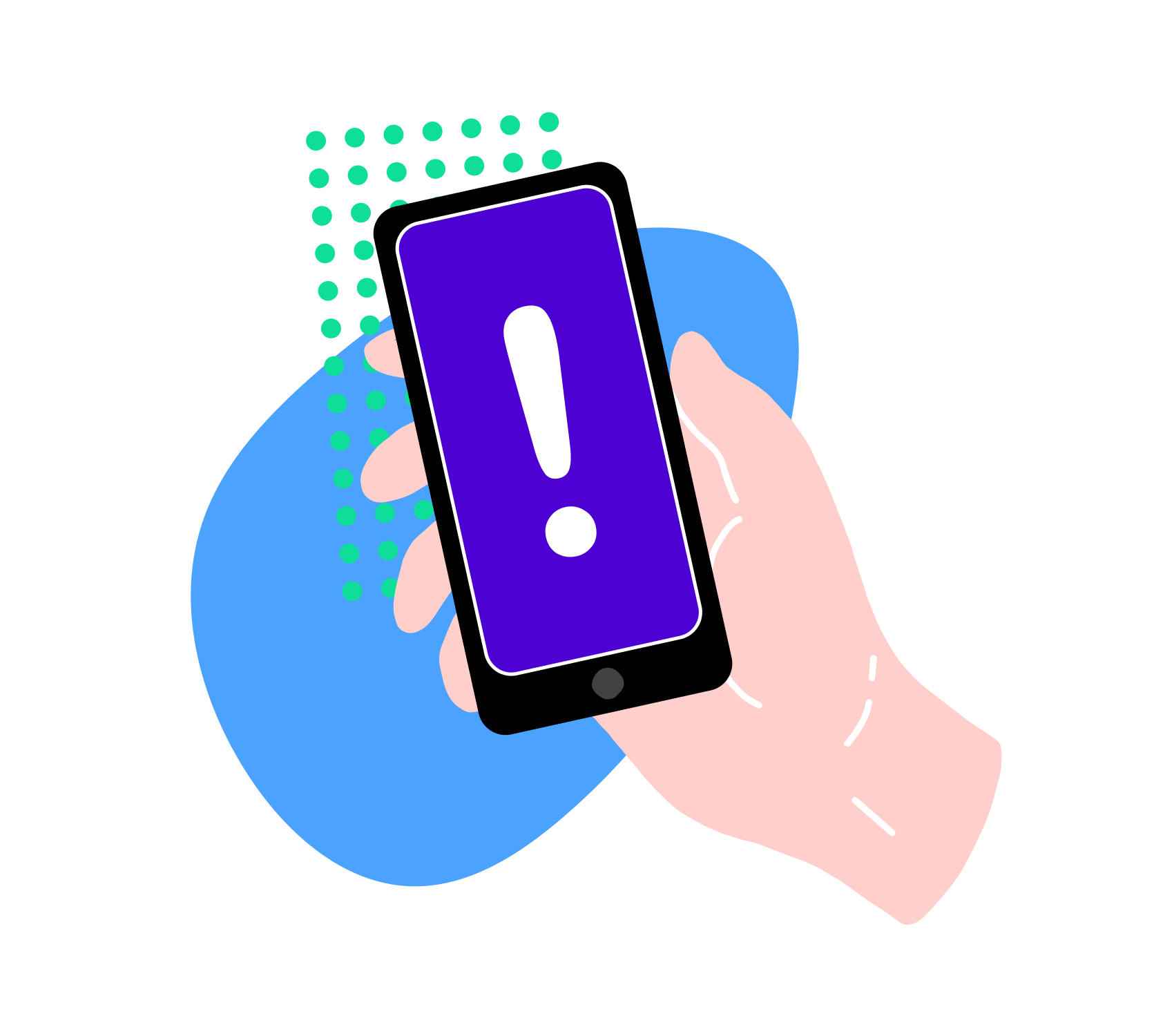Illustration of a hand holding a phone with an alert message