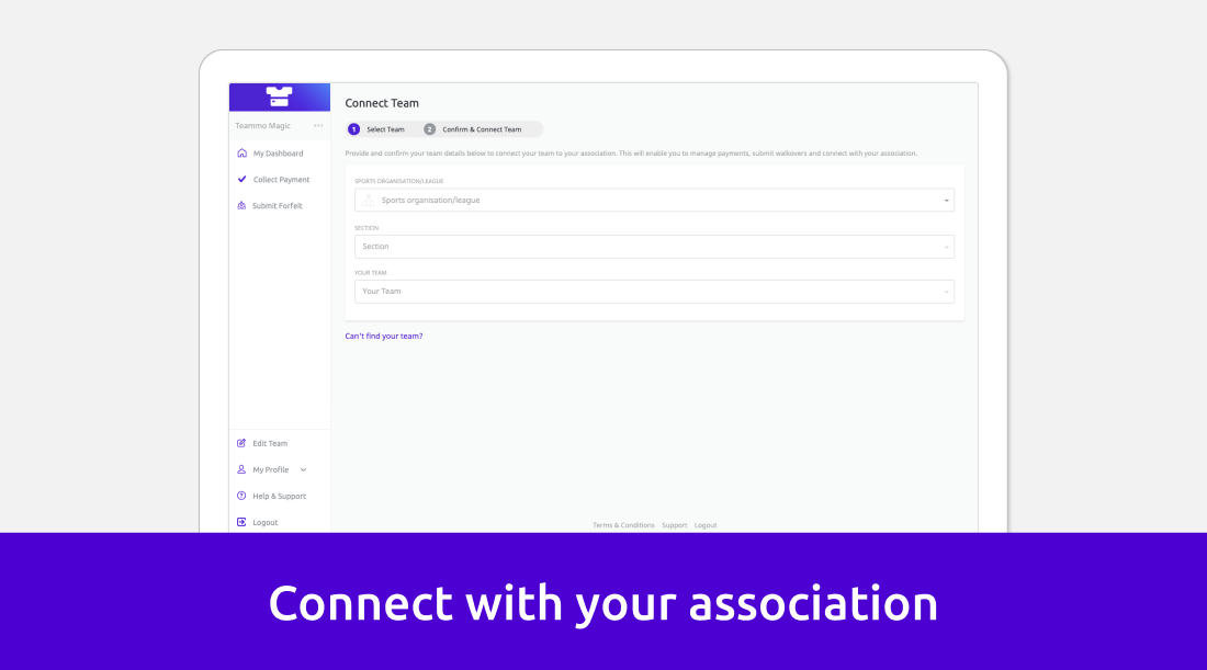 Form to connect your team with Teammo affiliated sports clubs and associations