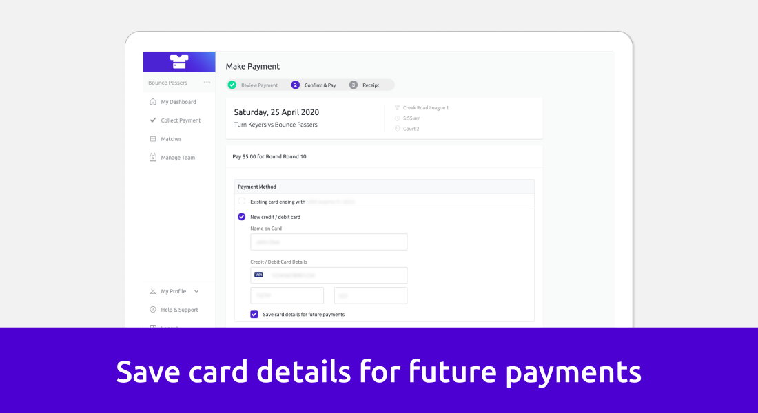 Screenshot showing that team managers can save their card details for future payments