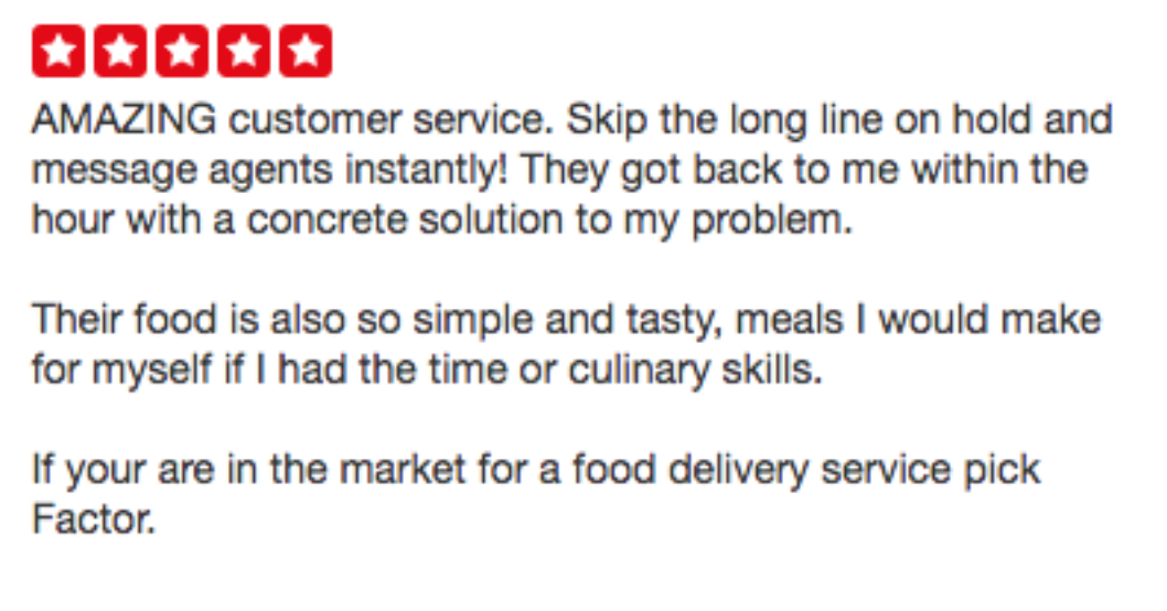 Example of Review Which Mentions Customer Service