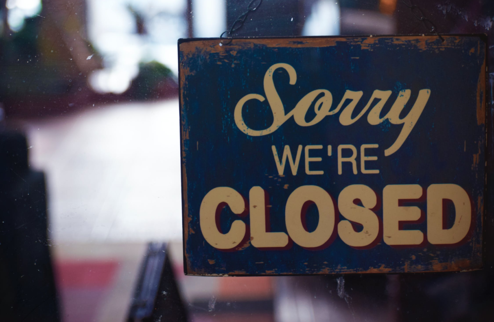 Closed sign for small business