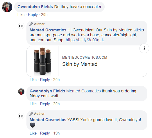 Mented Cosmetics Chatdesk response on Facebook Ad Comments