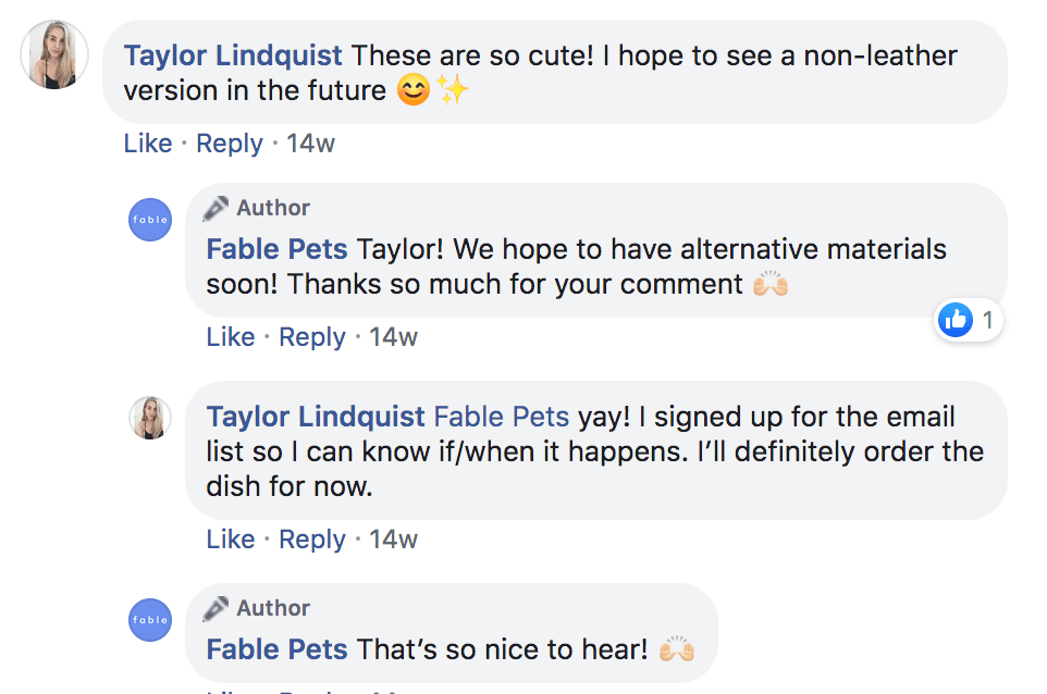 Fable Pets Facebook comments Chatdesk Teams responses