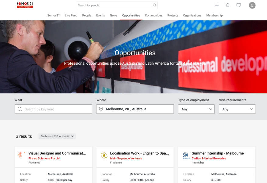 Somos21 new job opportunities page