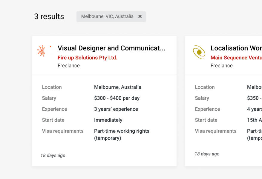 New job summary tile
