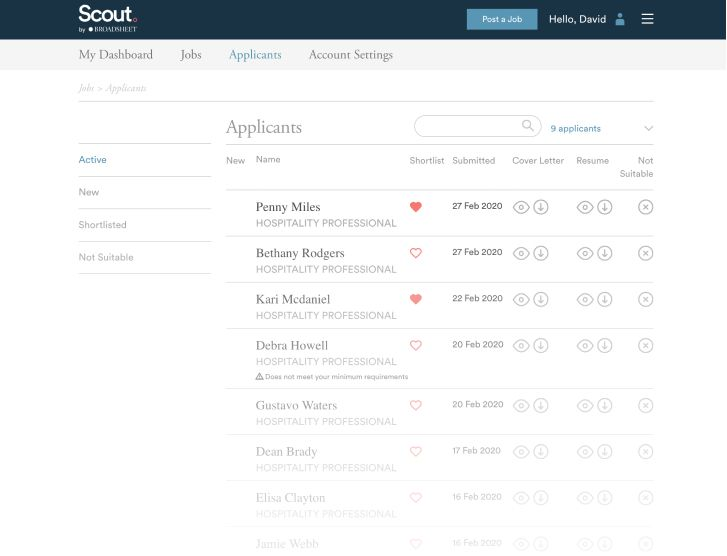Applicants page of the Scout Jobs platform