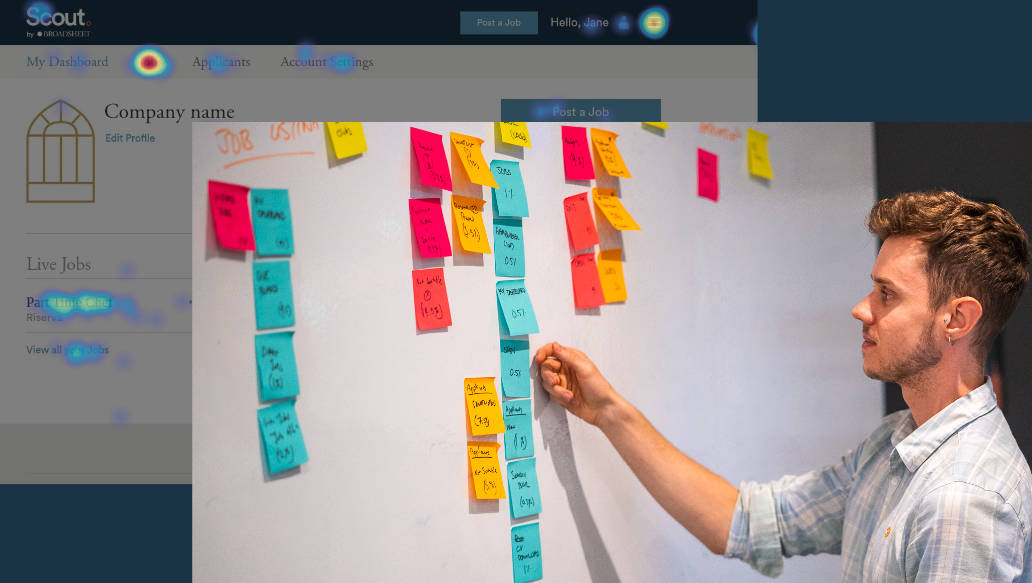 Sorting the most used features using post it notes based on heatmap click data