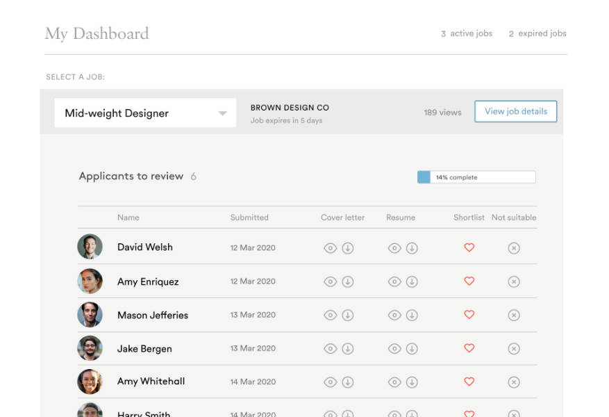 New dashboard page