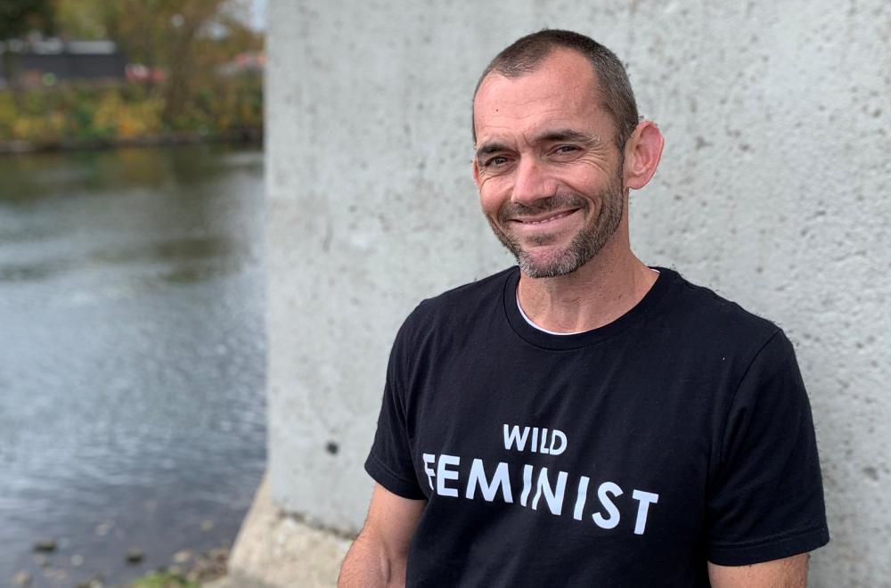 Jamie wearing a Wild Feminist tshirt