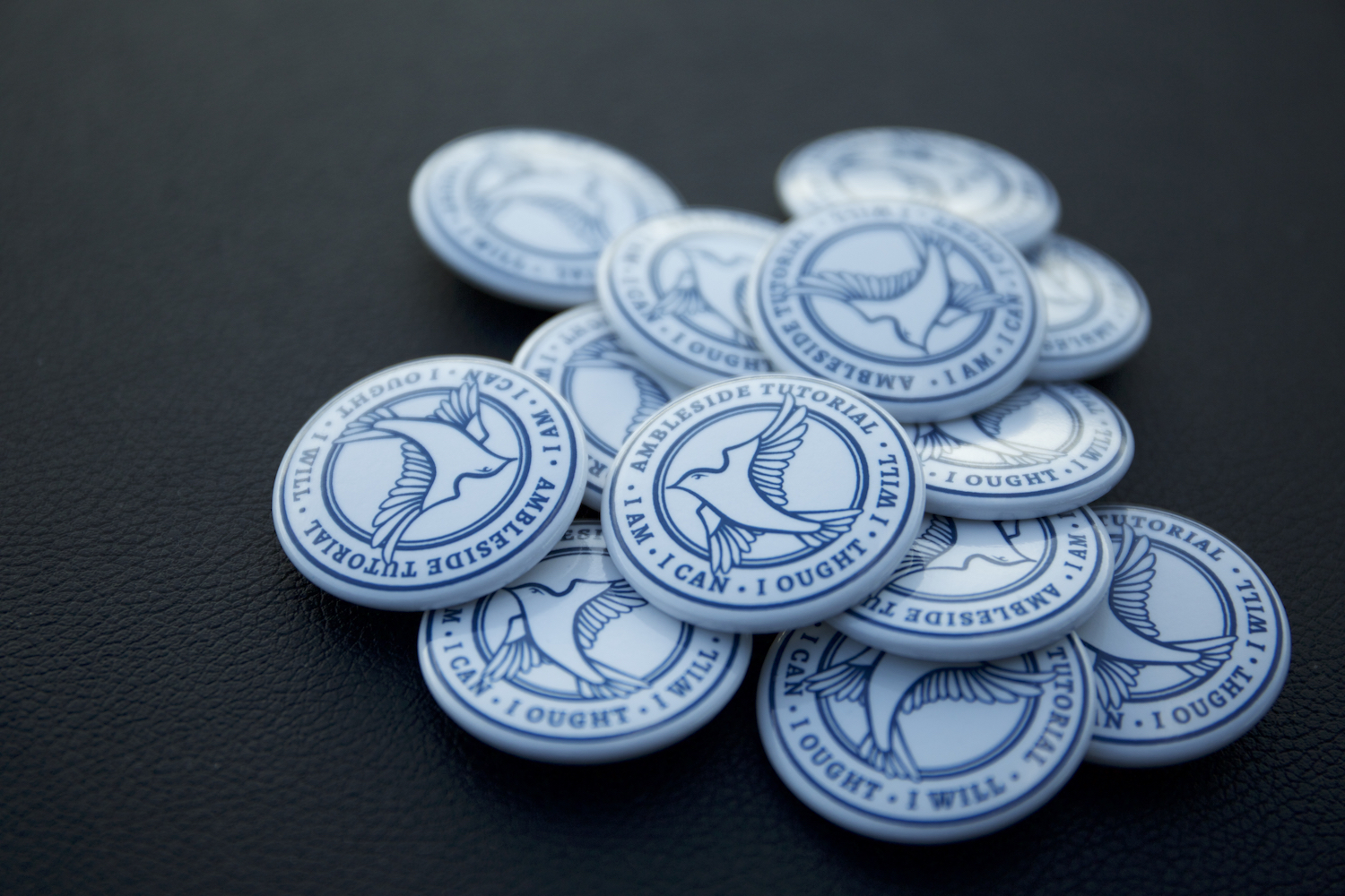 Close-up of buttons printed with the Ingleside Tutorial badge, designed by Serve.
