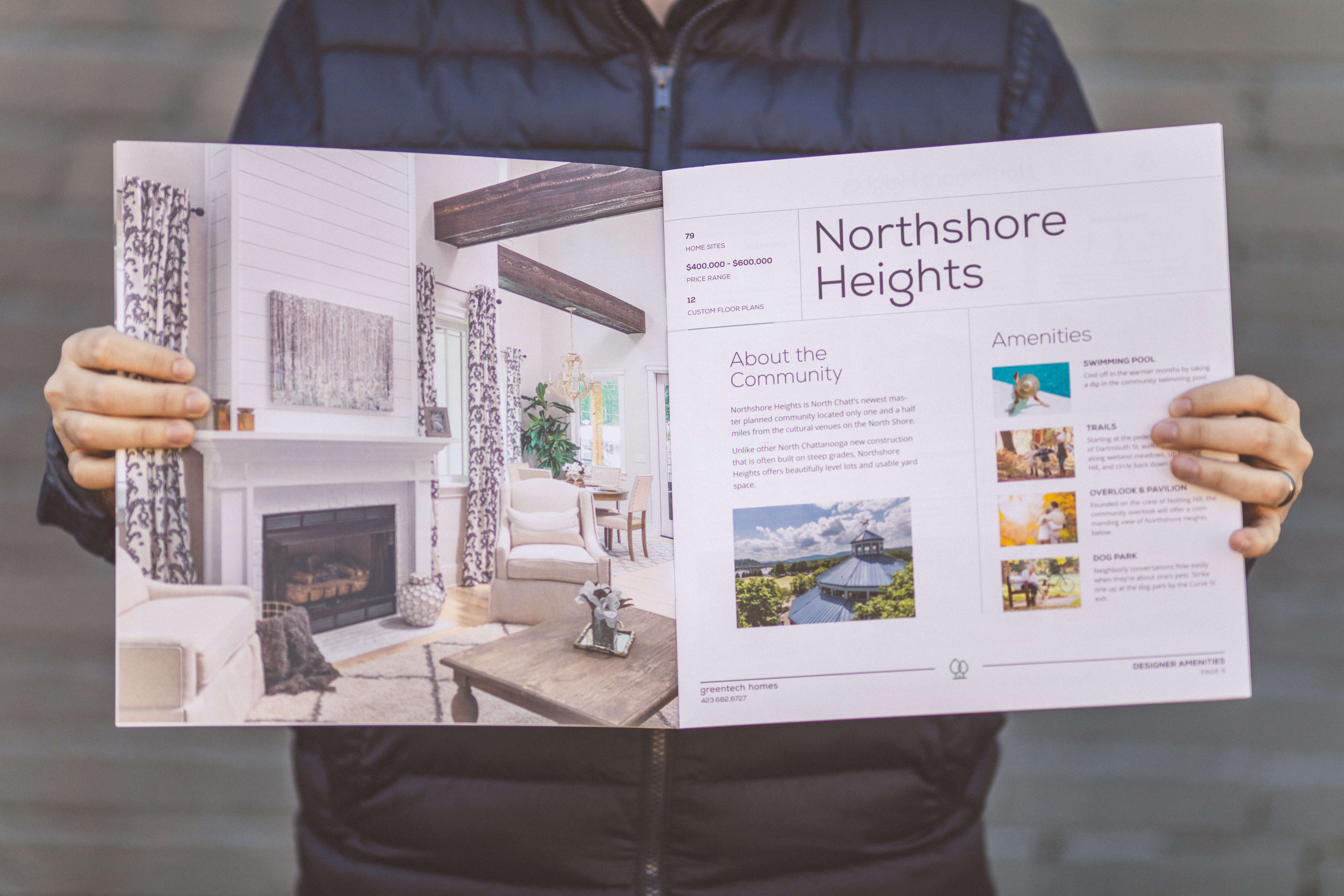 Close-up of a 12' x 12' booklet designed for Greentech Homes