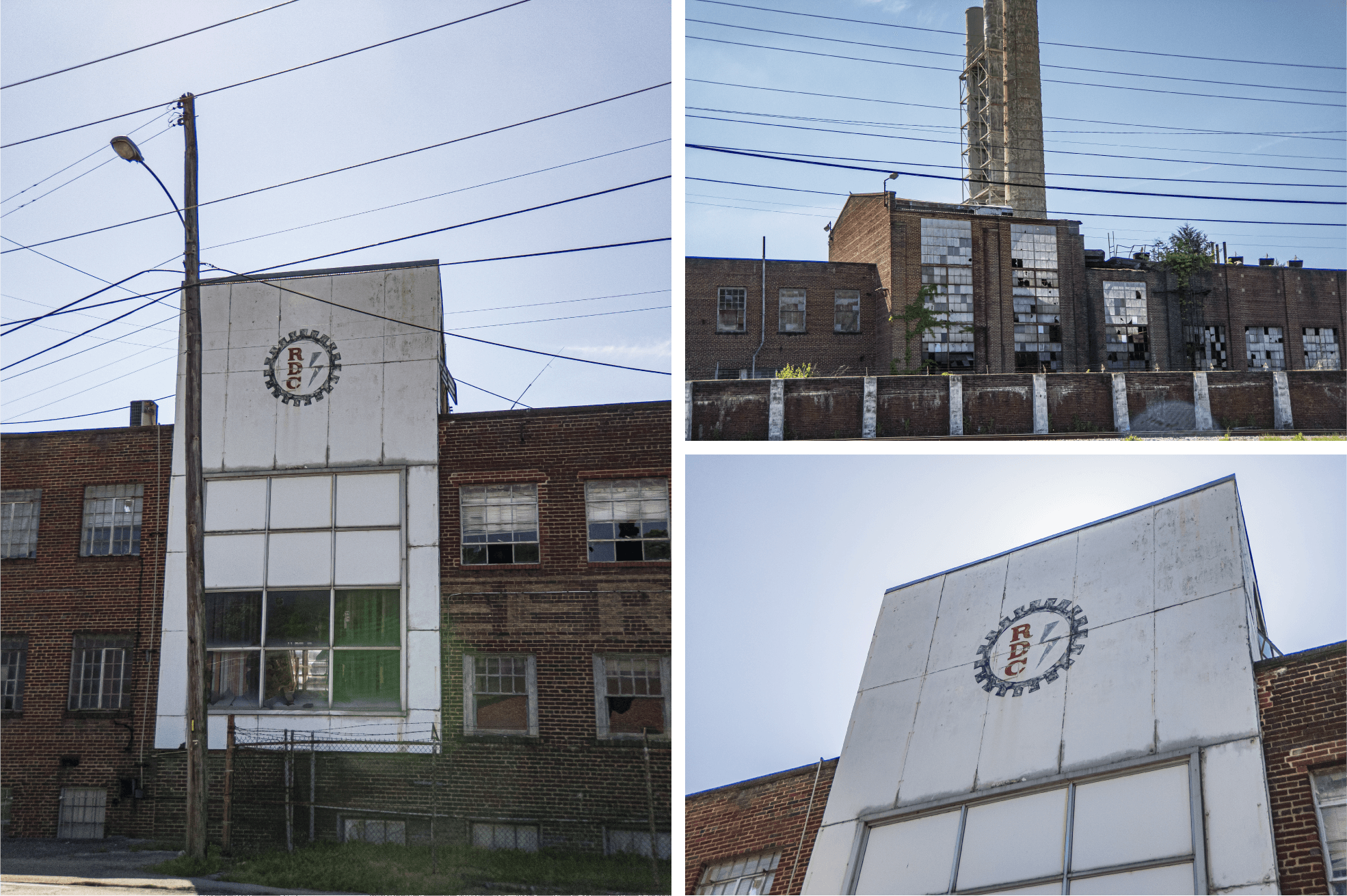 Grid of 3 images displaying the RDC logo emblazoned on the Pearless Wooden Mills building
