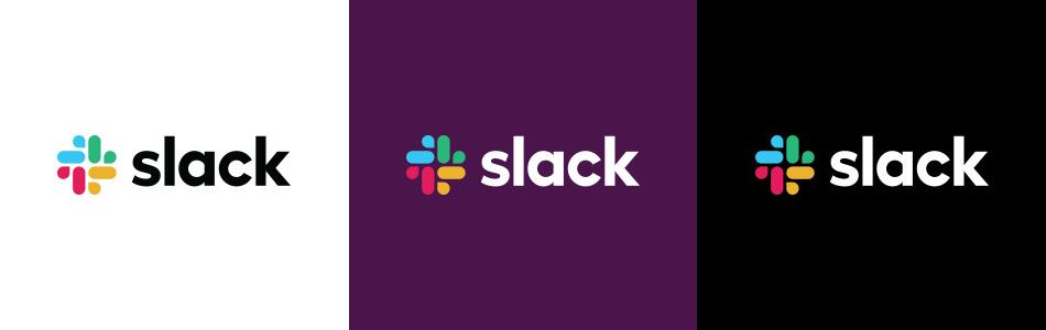 Three slack logos on a white, blue, and black background