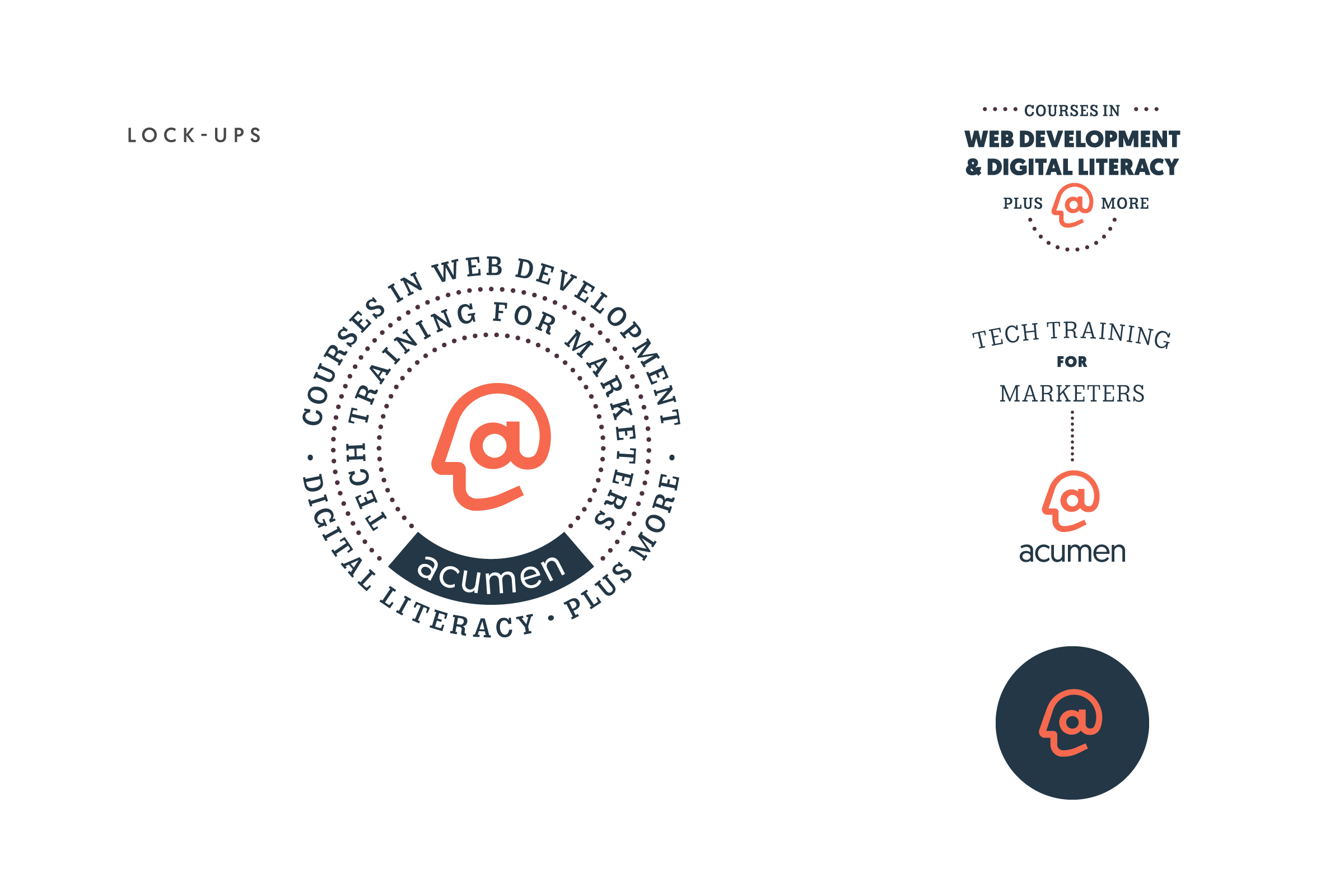 Diagram of the secondary logo assets designed for Acumen