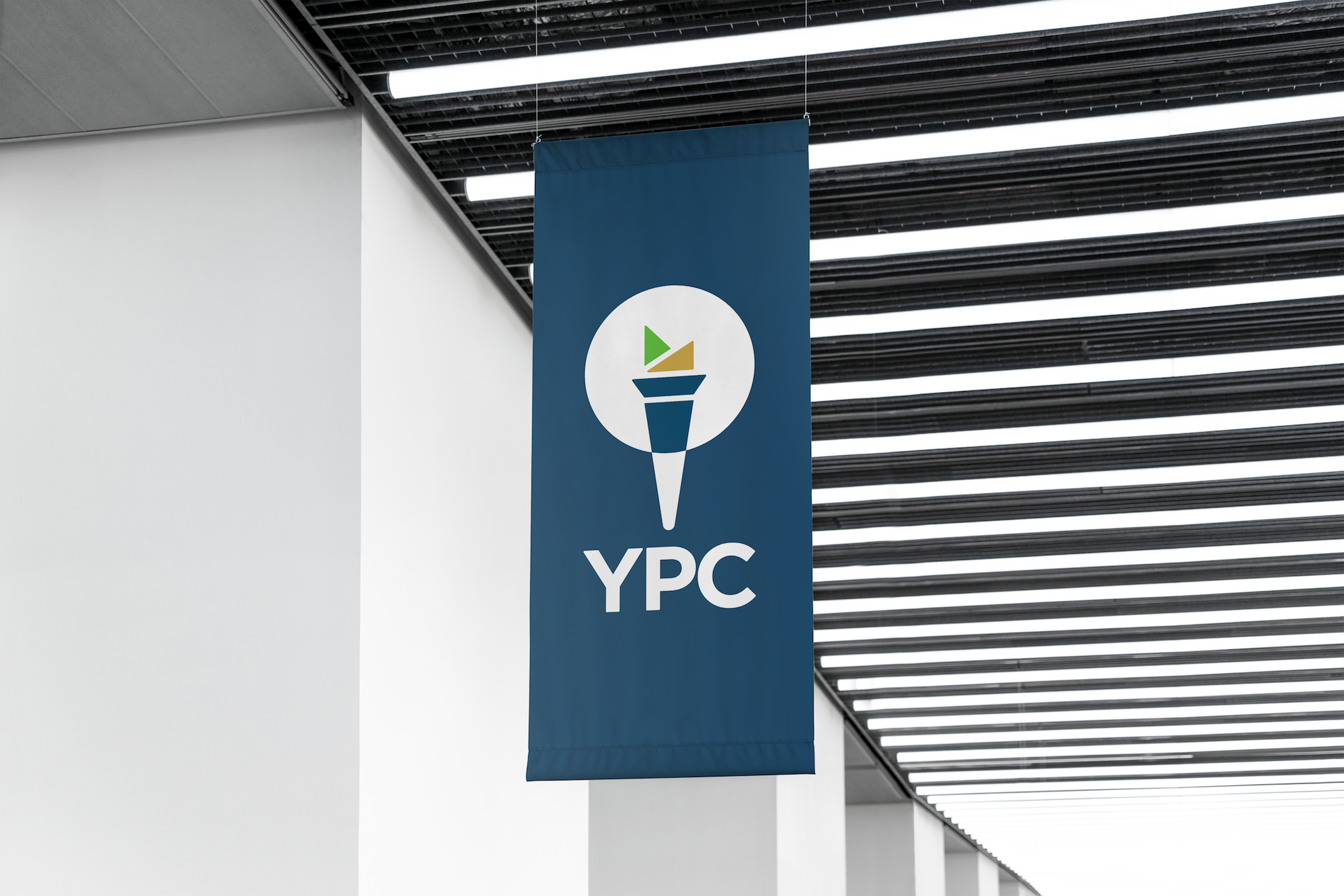 Mockup of a banner featuring the YPC logo