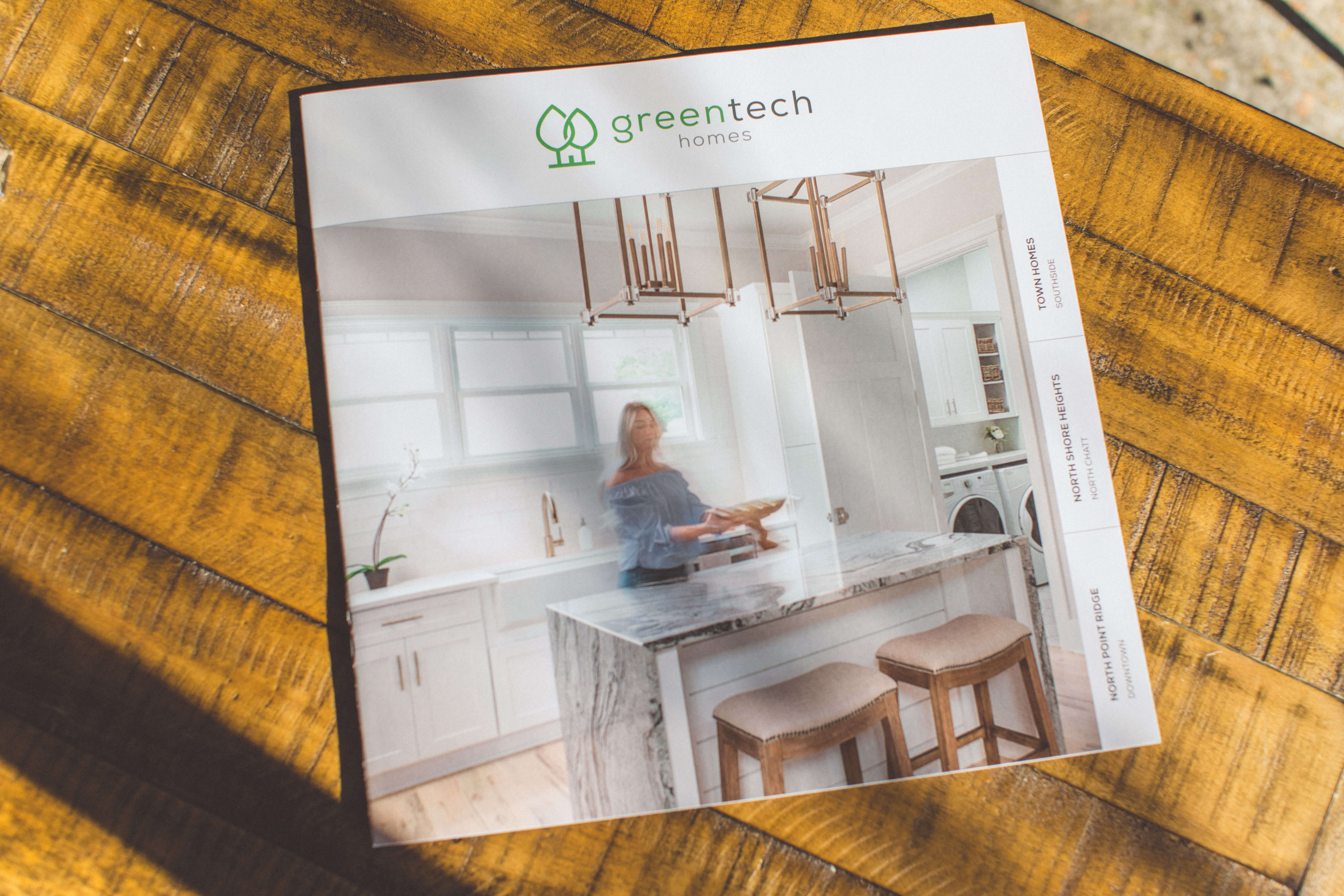 "Medium shot of the 12"" x 12"" booklet Serve designed for Greentech Homes"