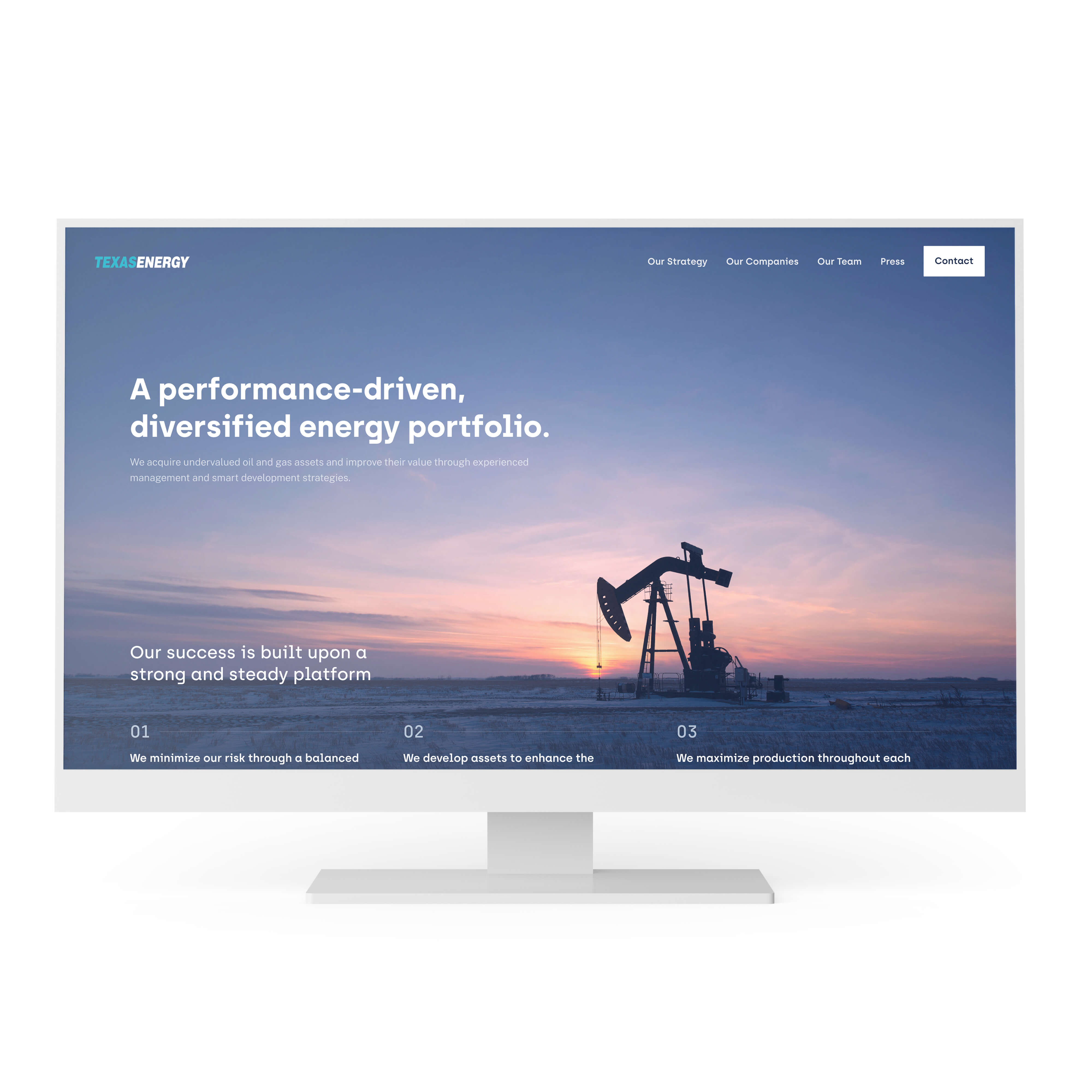 Mockup of the Texas Energy home page displayed on a large monitor