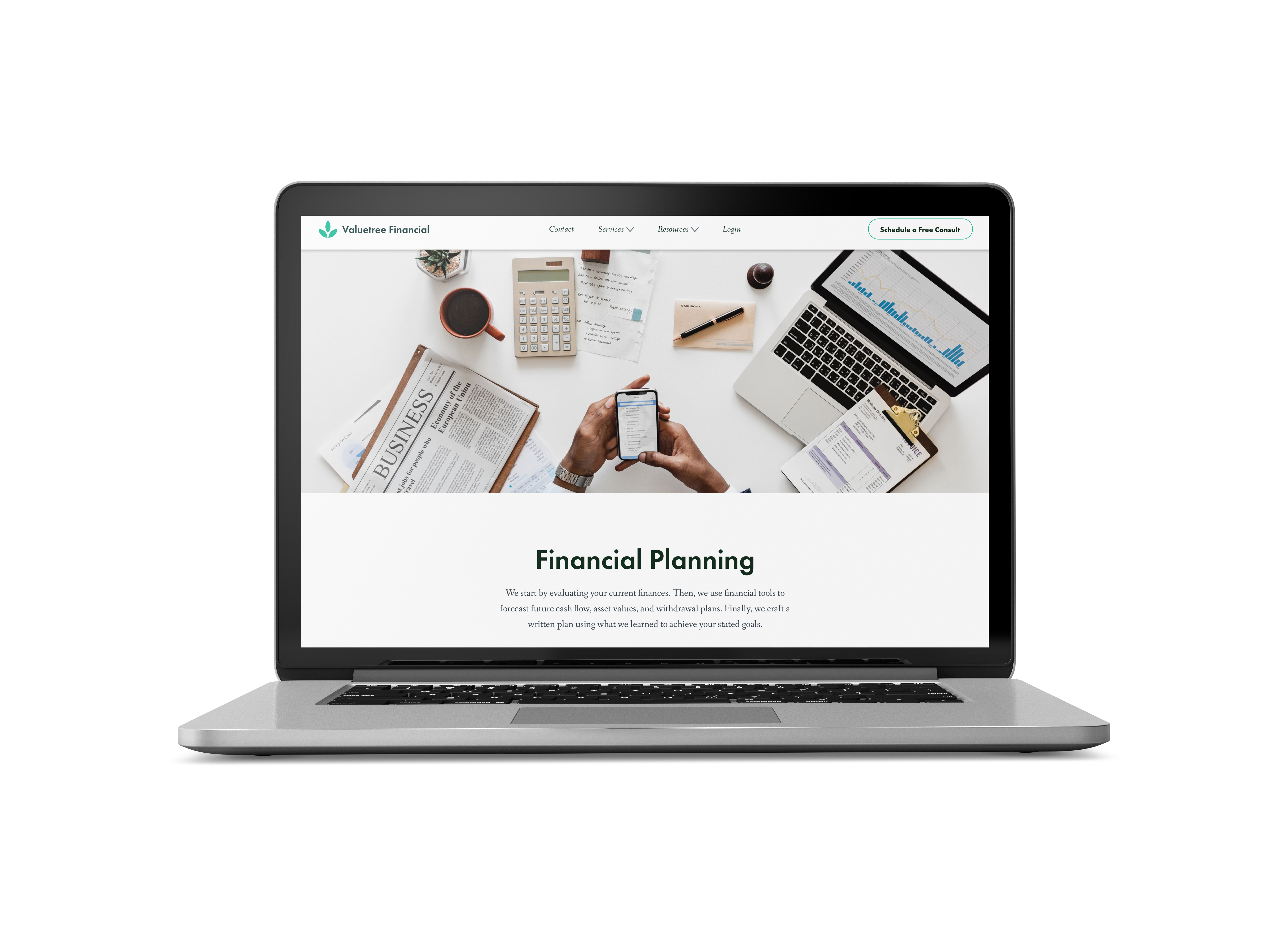 Mockup of the financial planning service page displayed on a macbook laptop.