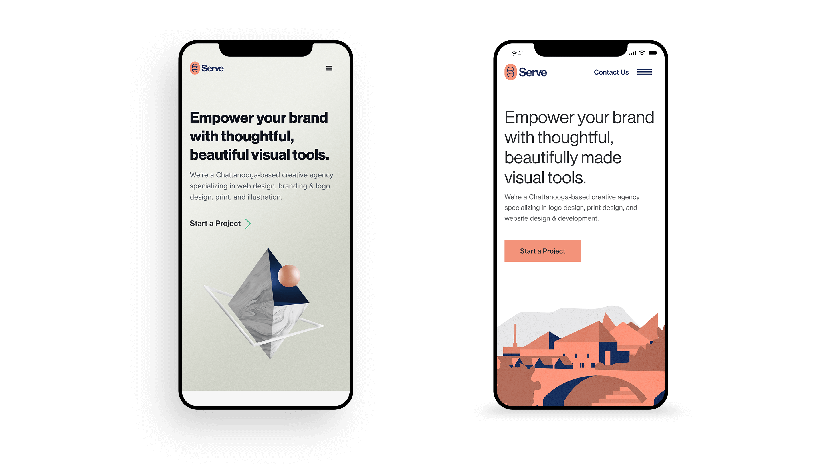 Two phone mockups with the old and new versions of the Serve website.