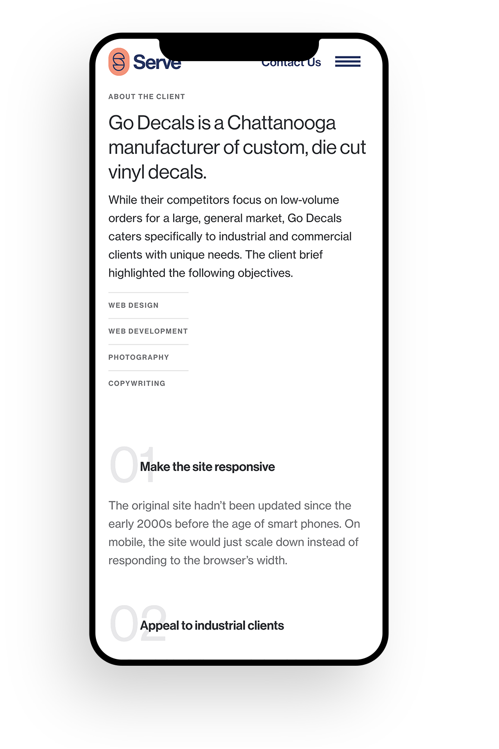A mobile phone mockup of the Serve case study template page.