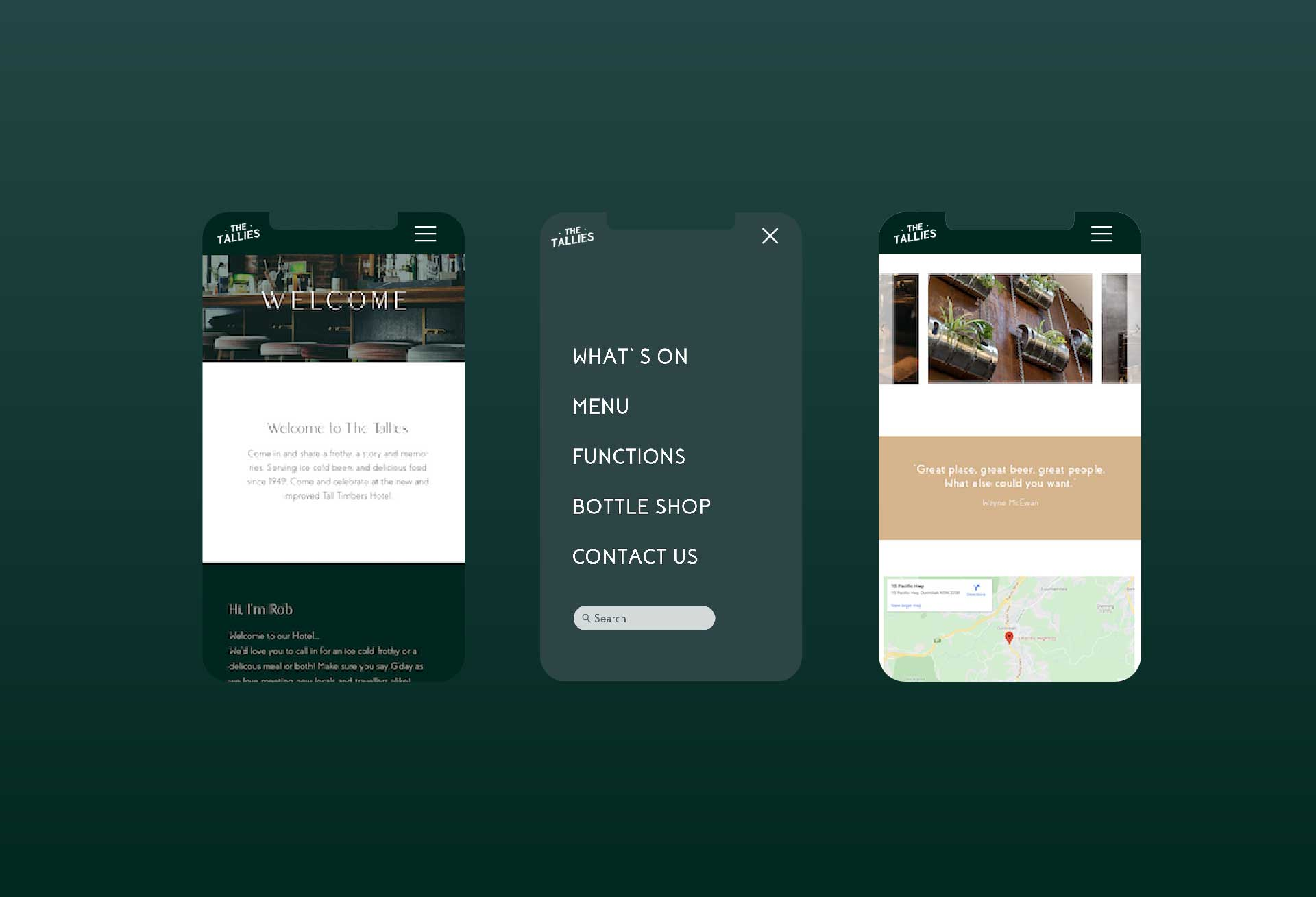 Mobile optimised website design for The Tall Timbers Hotel