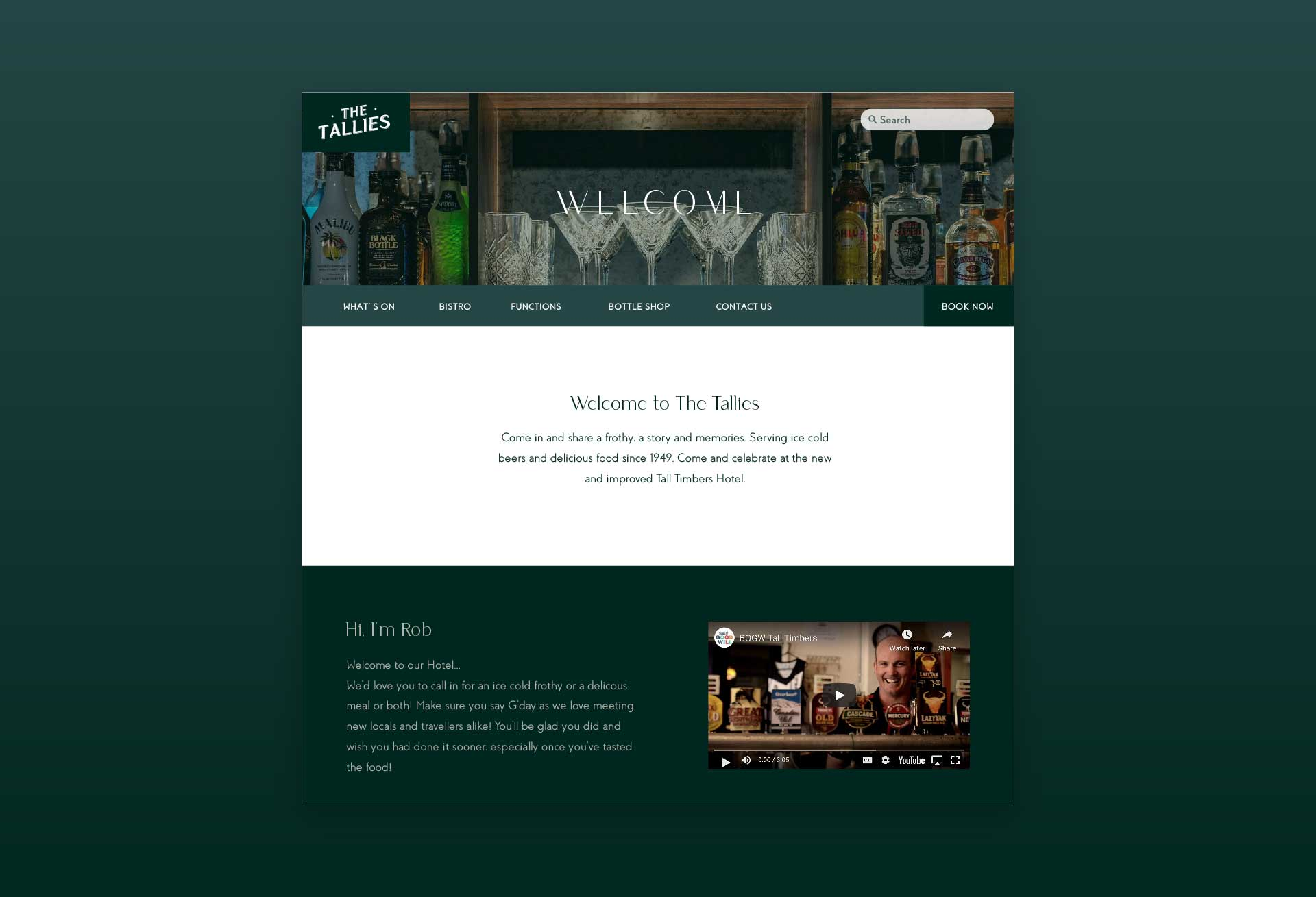 Website design for The Tall Timbers Hotel