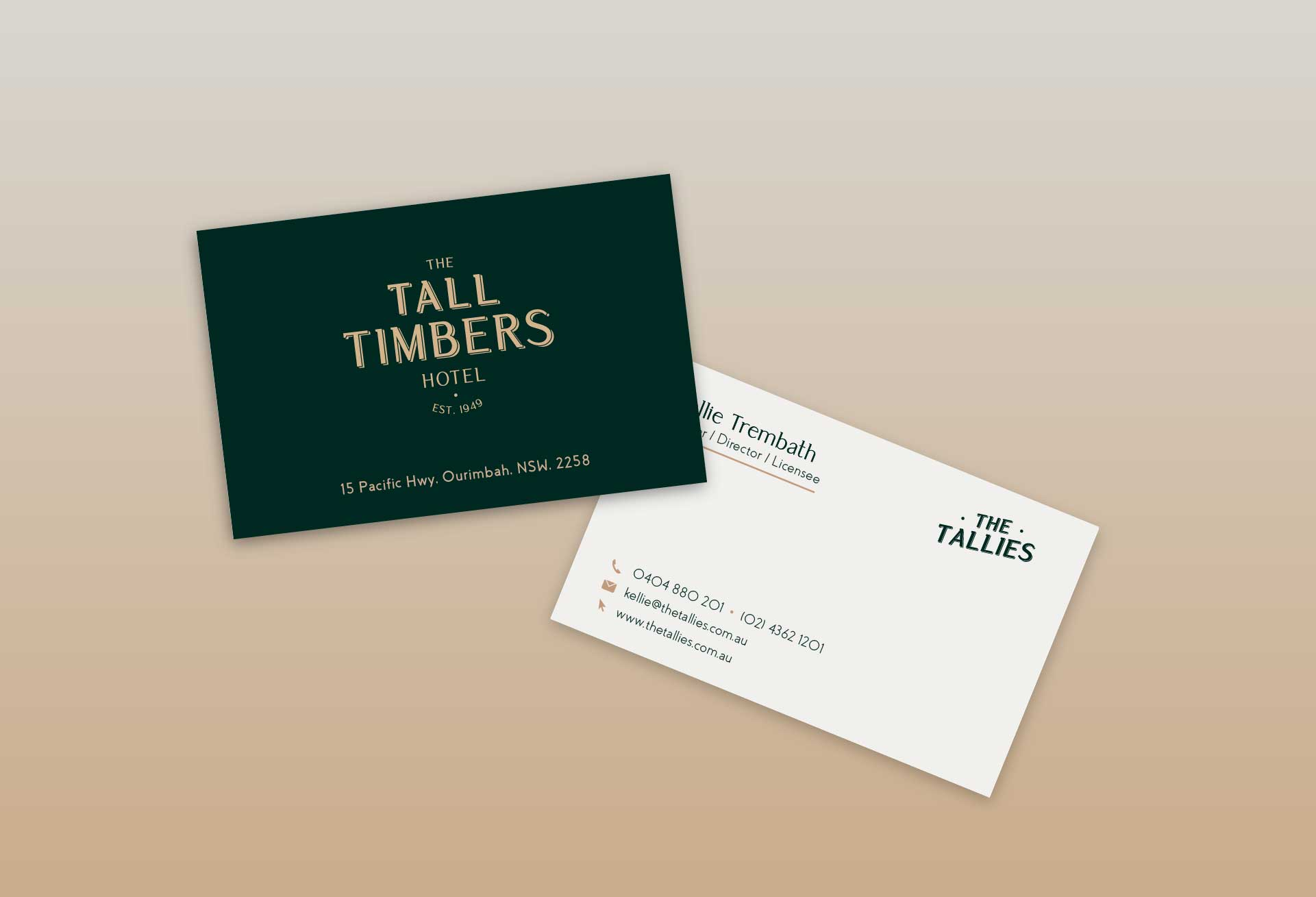 Business card design for The Tall Timbers Hotel