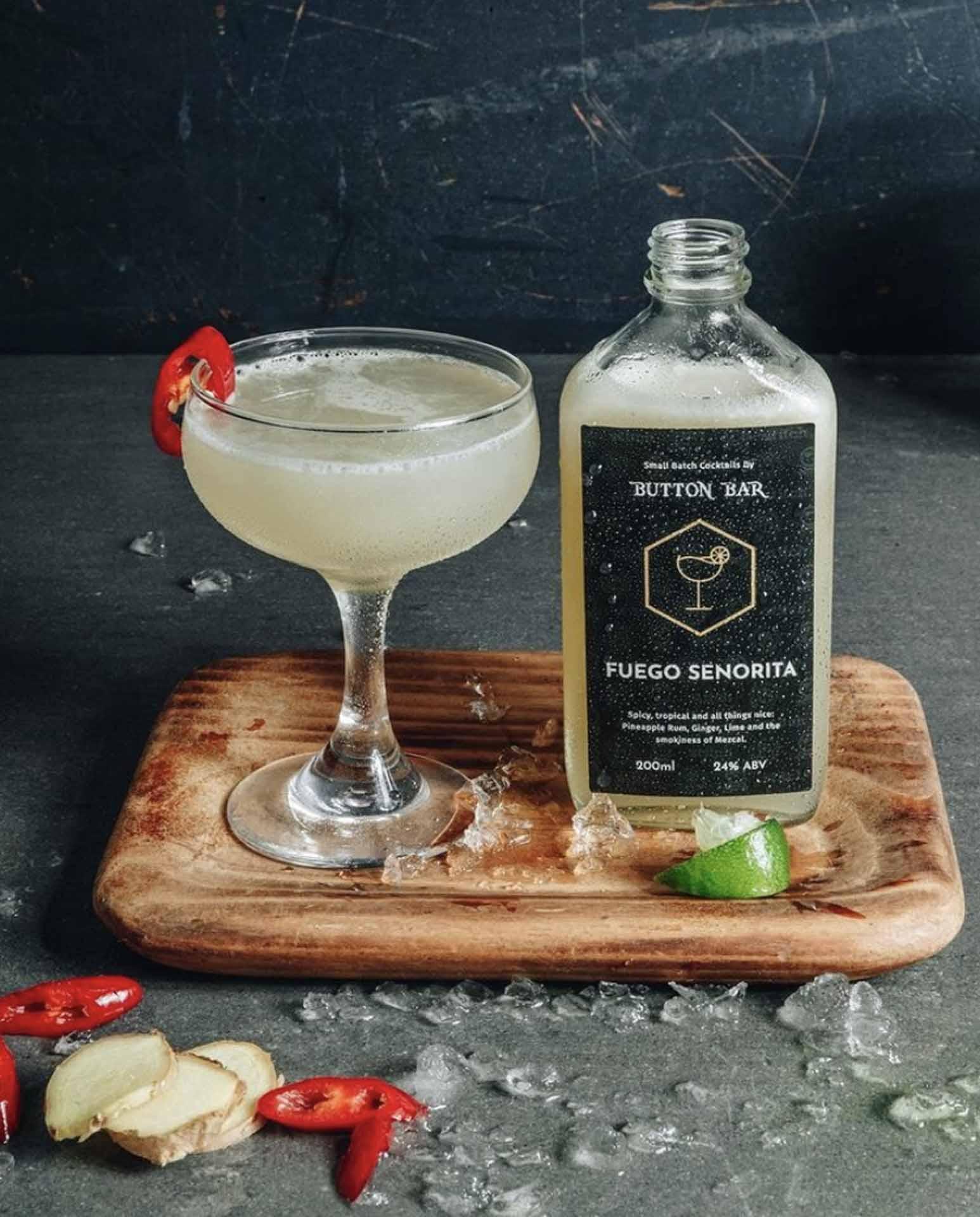cocktail flask takeaway label design
