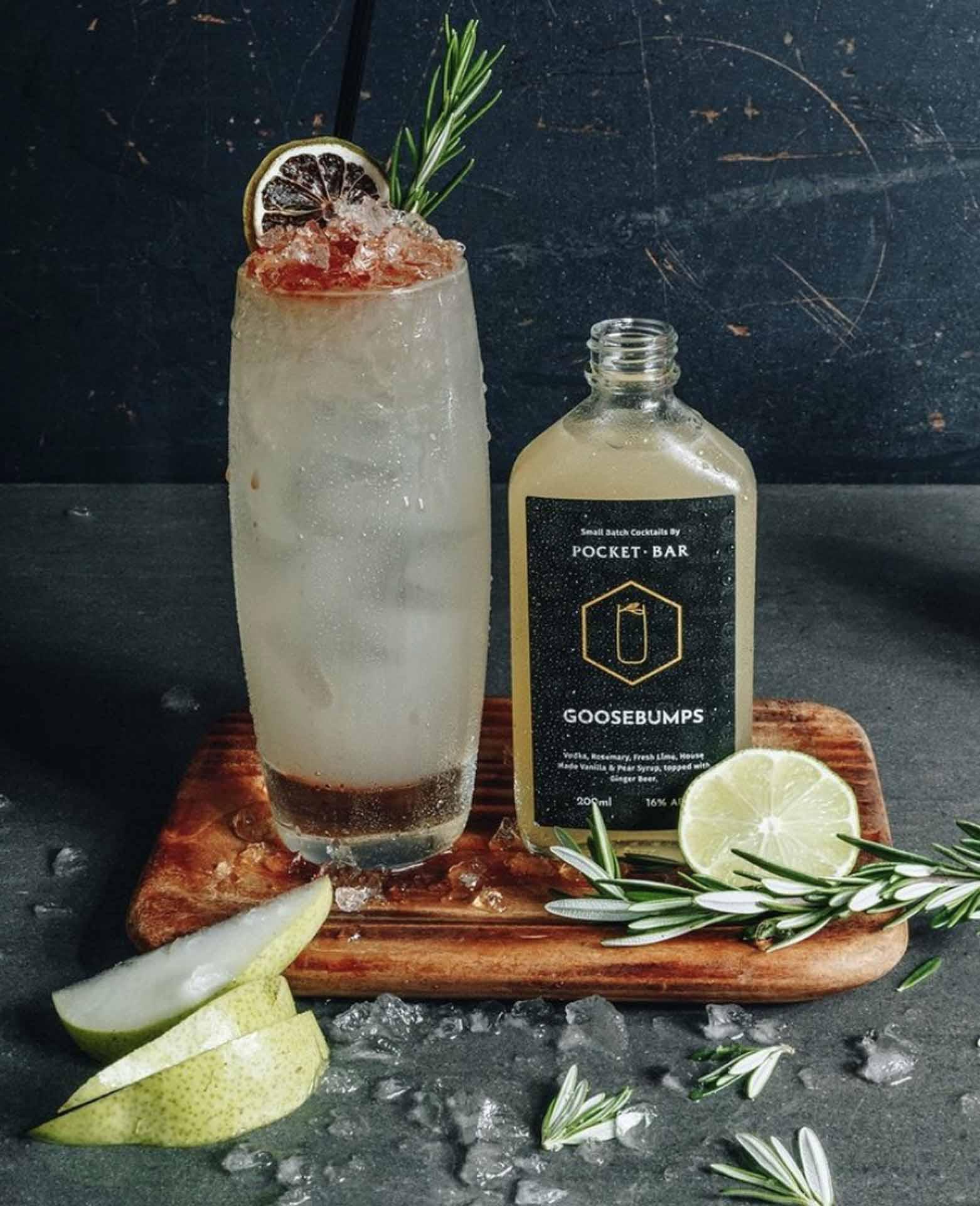 Glass flask cocktail label design for Pocket Bar's takeaway range