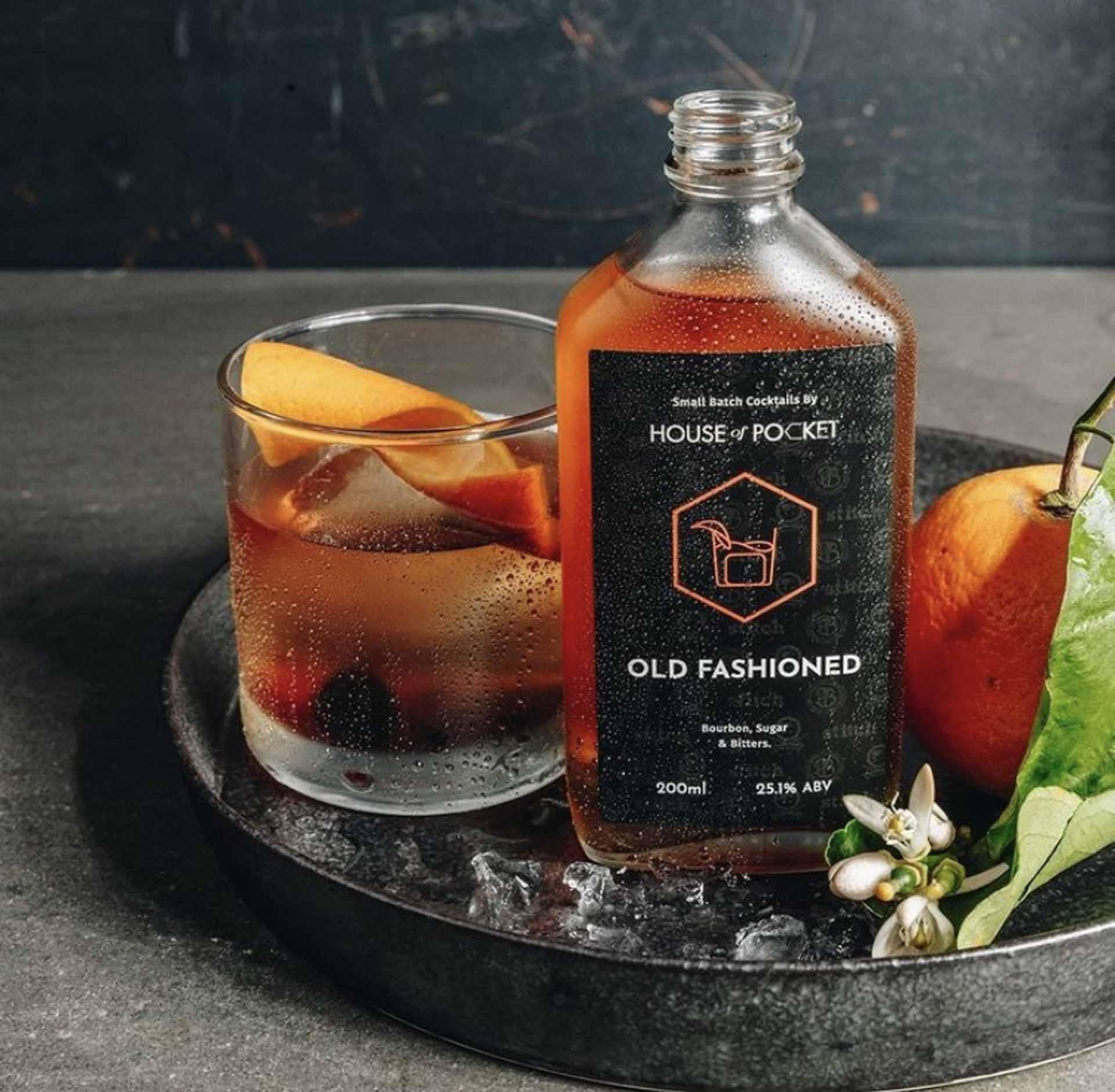 Take-away cocktail label design for Pocket Bar