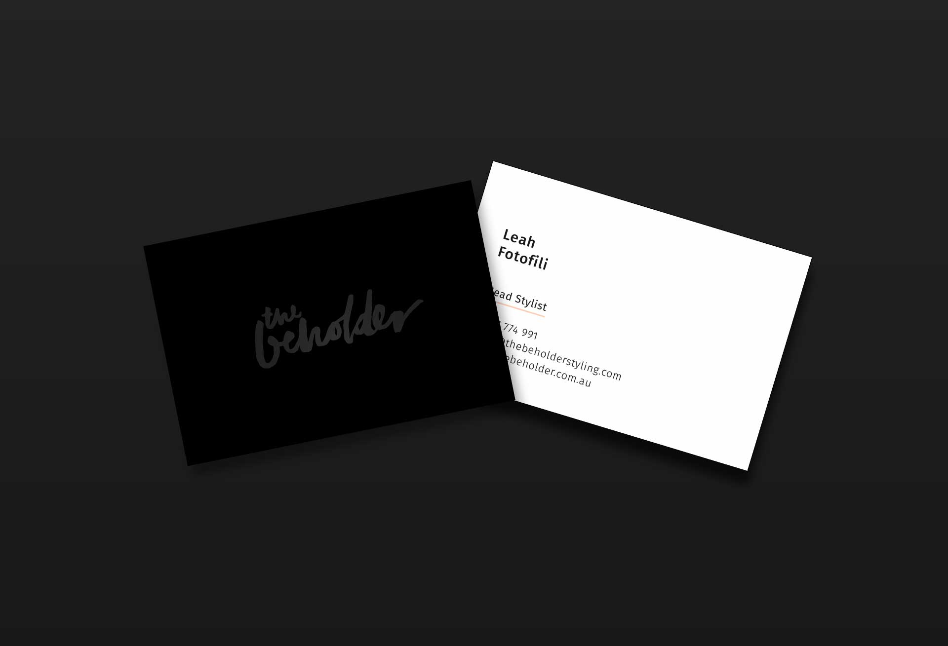Minimalist business card design fro The Beholder Styling + Design