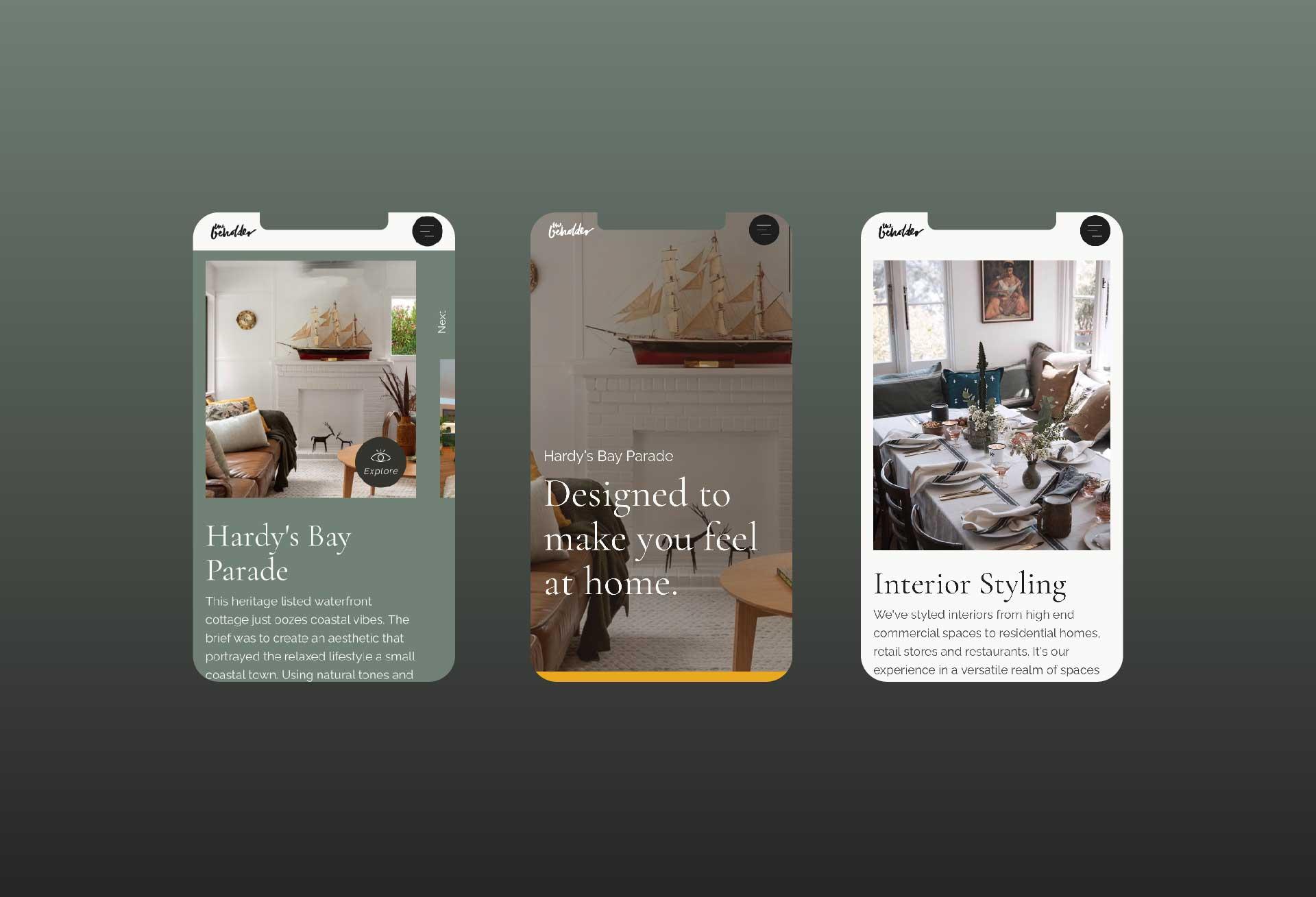 Mobile optimised website design for The Beholder Styling + Design